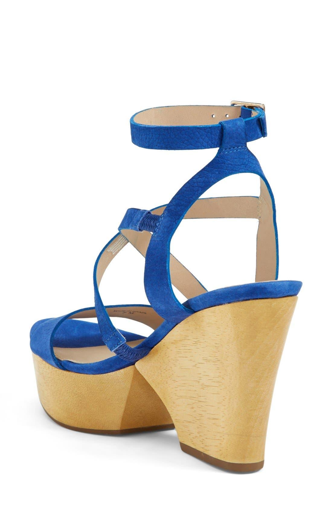 'Lamille' Leather Platform Wedge Sandal,                             Alternate thumbnail 2, color,                             Blue Riviera