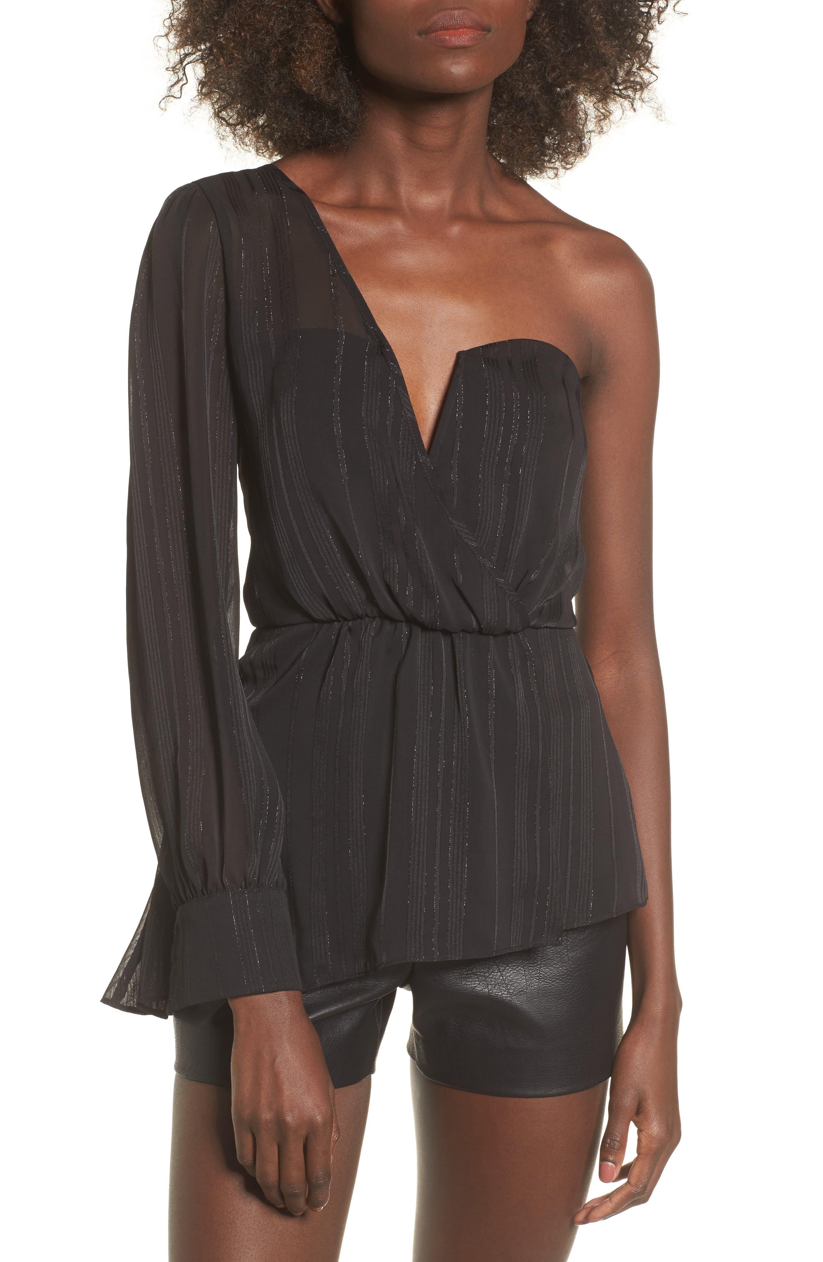 One Shoulder Top,                         Main,                         color, Black