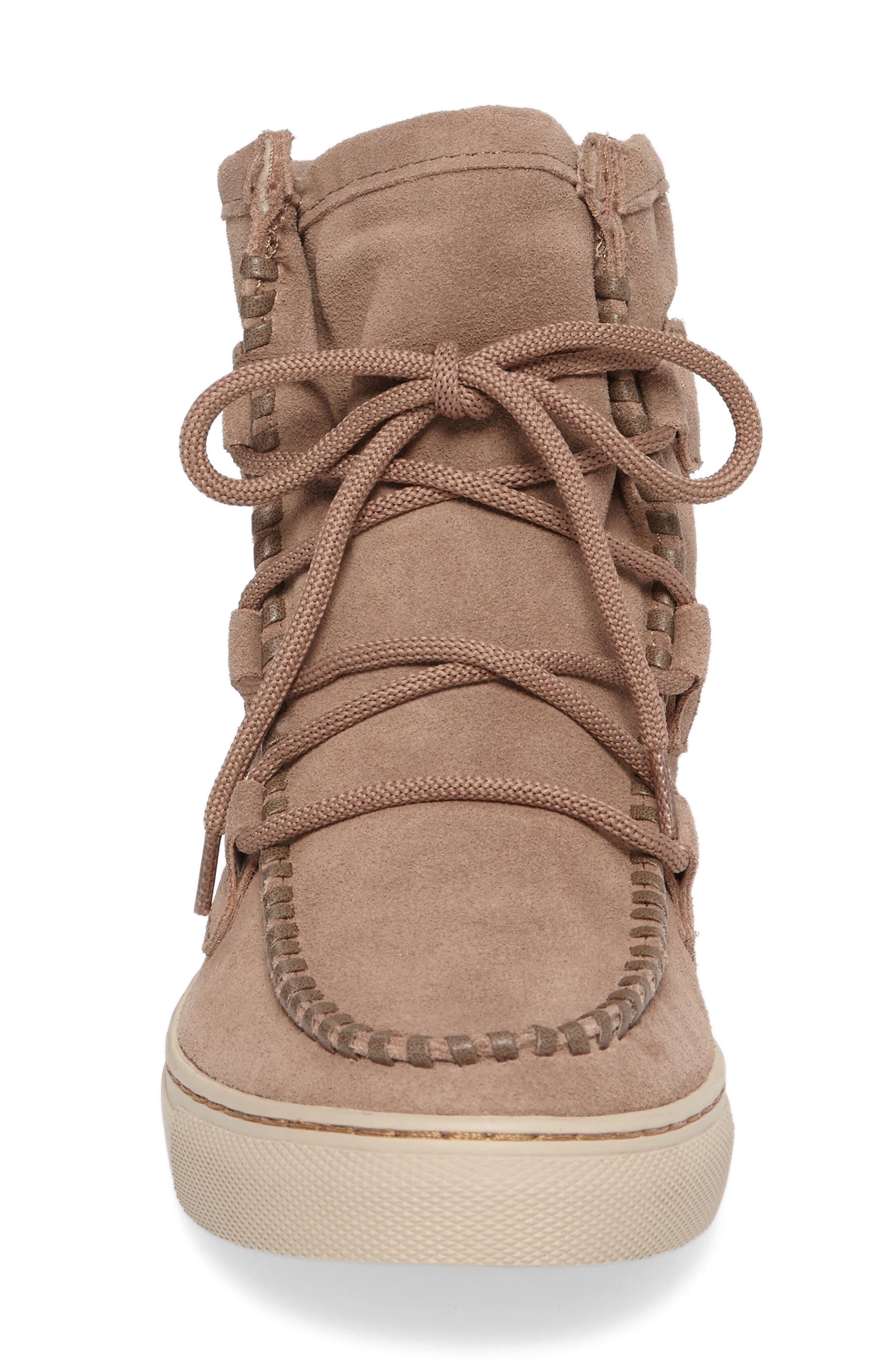 Fabiola Waterproof High Top Sneaker,                             Alternate thumbnail 4, color,                             Taupe Suede