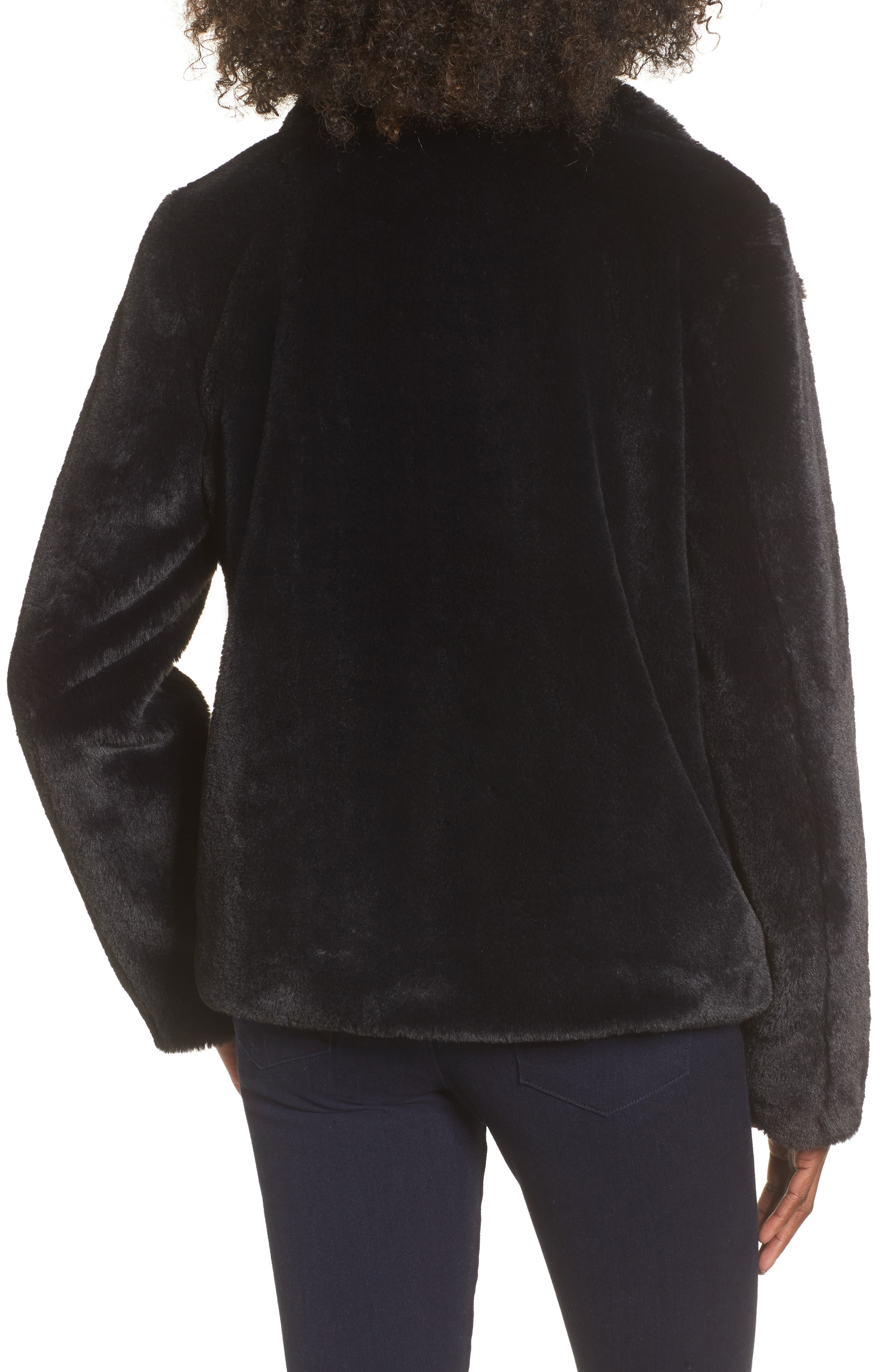 Fur-Fect Faux Fur Jacket,                             Alternate thumbnail 2, color,                             Black