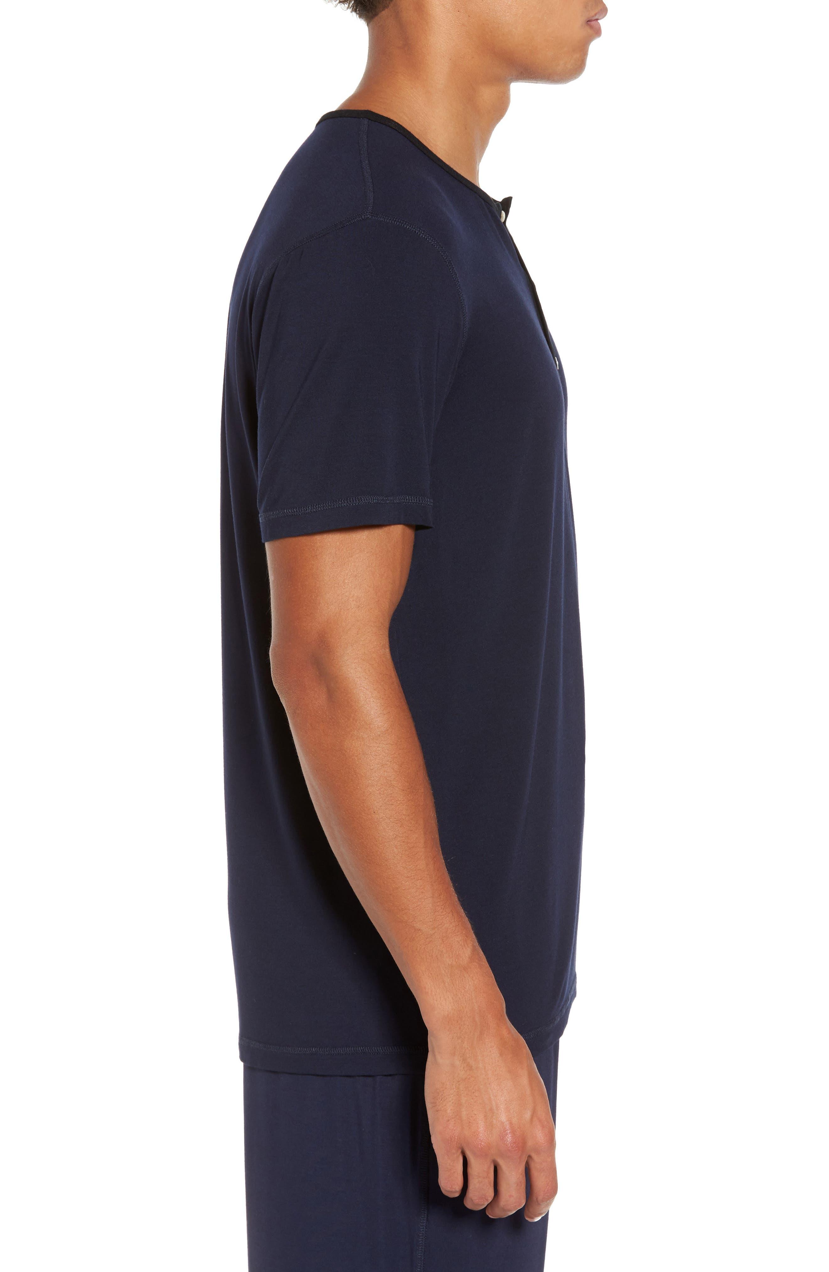 Modal Blend Henley T-shirt,                             Alternate thumbnail 3, color,                             Ink