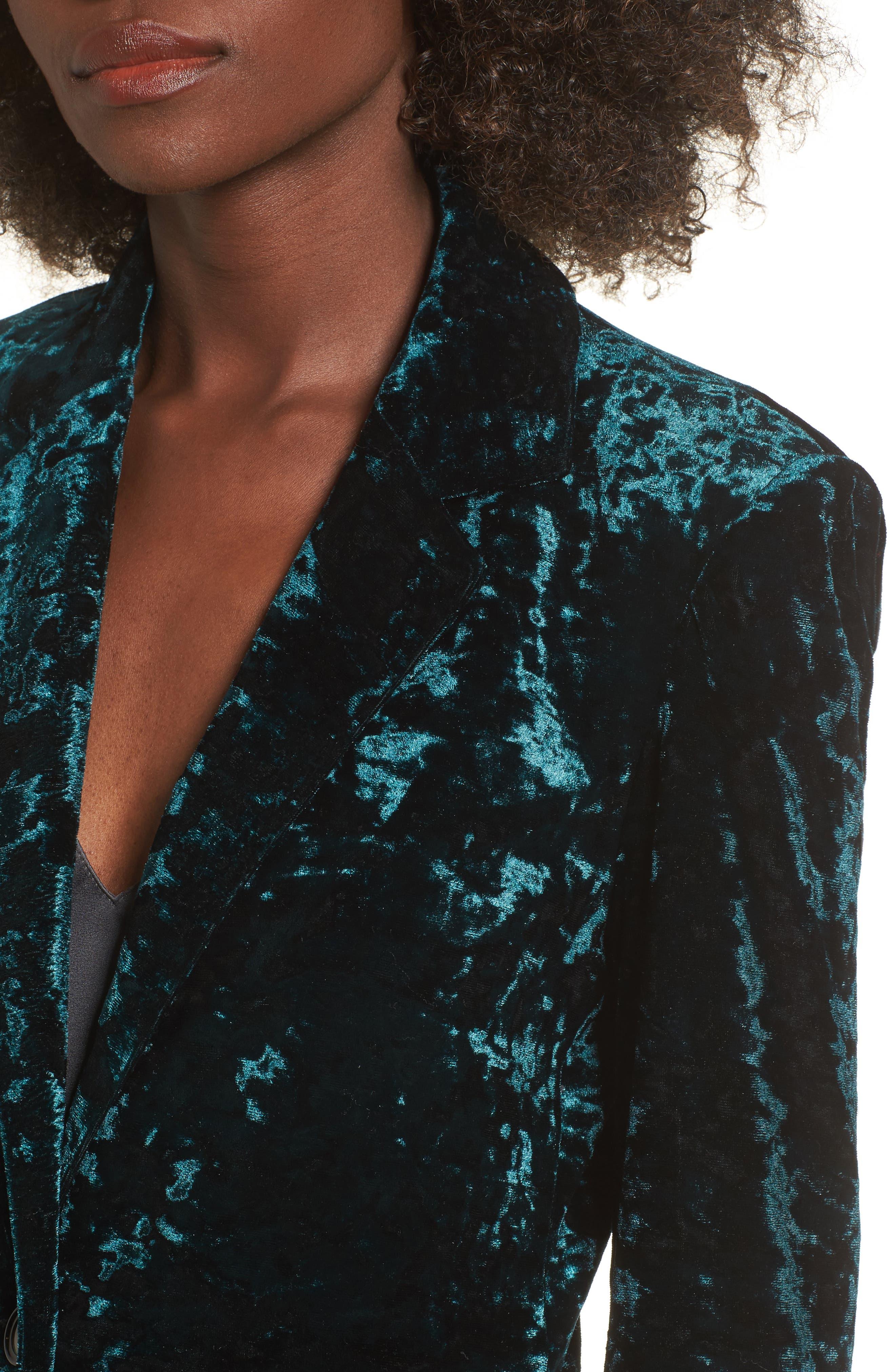 Bonbon Velvet Blazer,                             Alternate thumbnail 4, color,                             Green