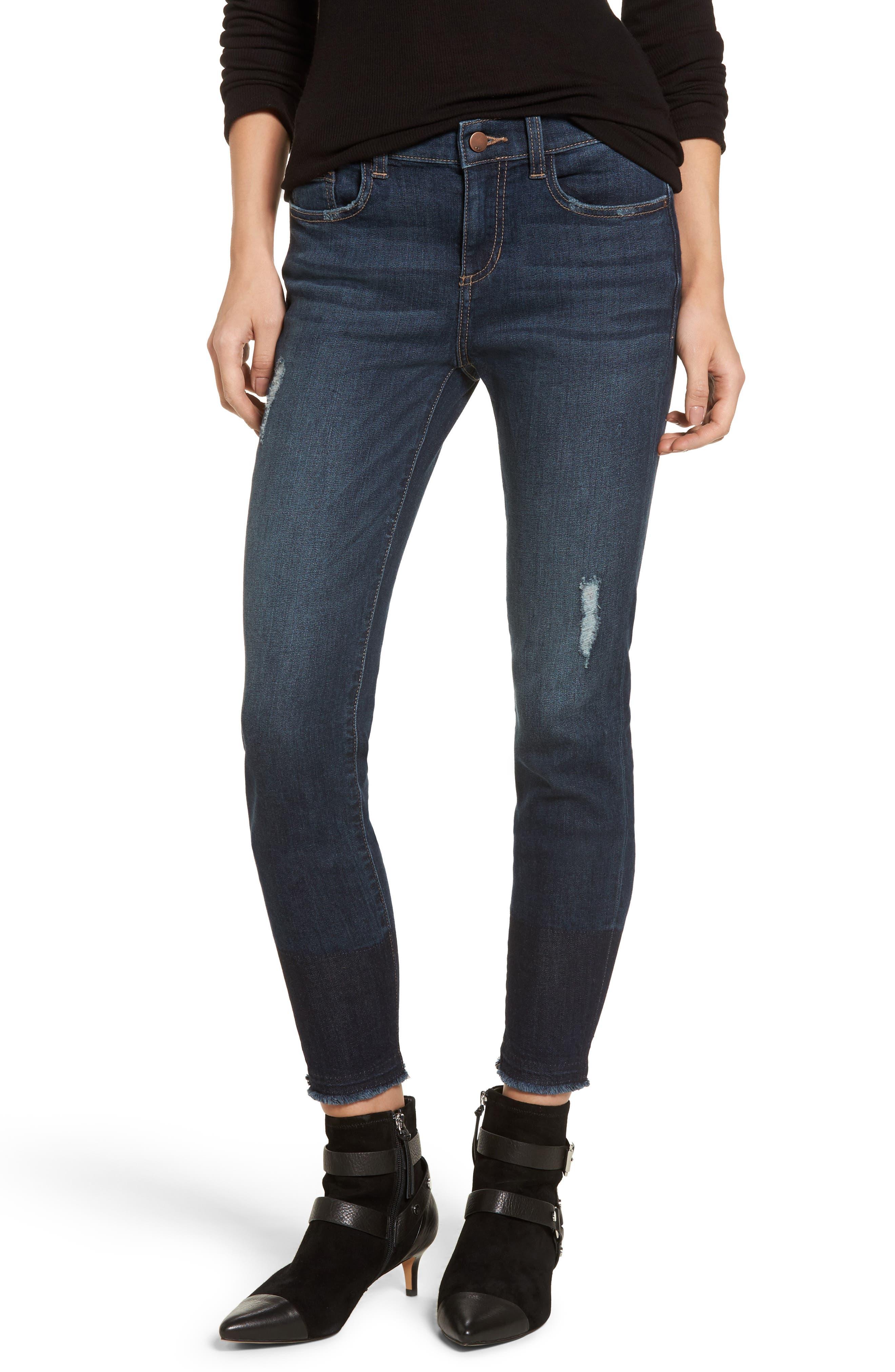 Colorblock Hem Skinny Jeans,                         Main,                         color, Dark Wash