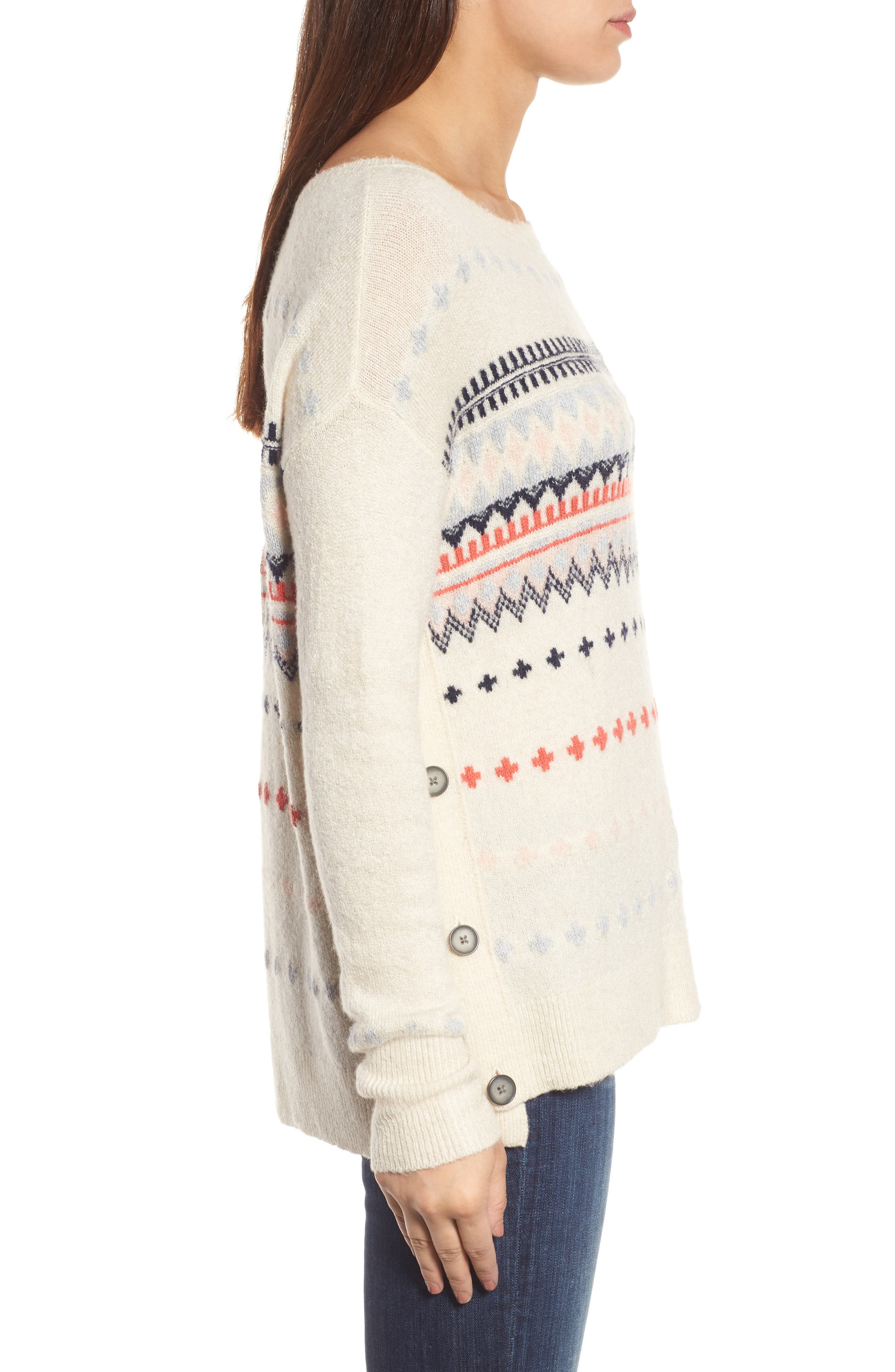 Alternate Image 3  - Caslon® Long Sleeve Side Button Sweater (Regular & Petite)