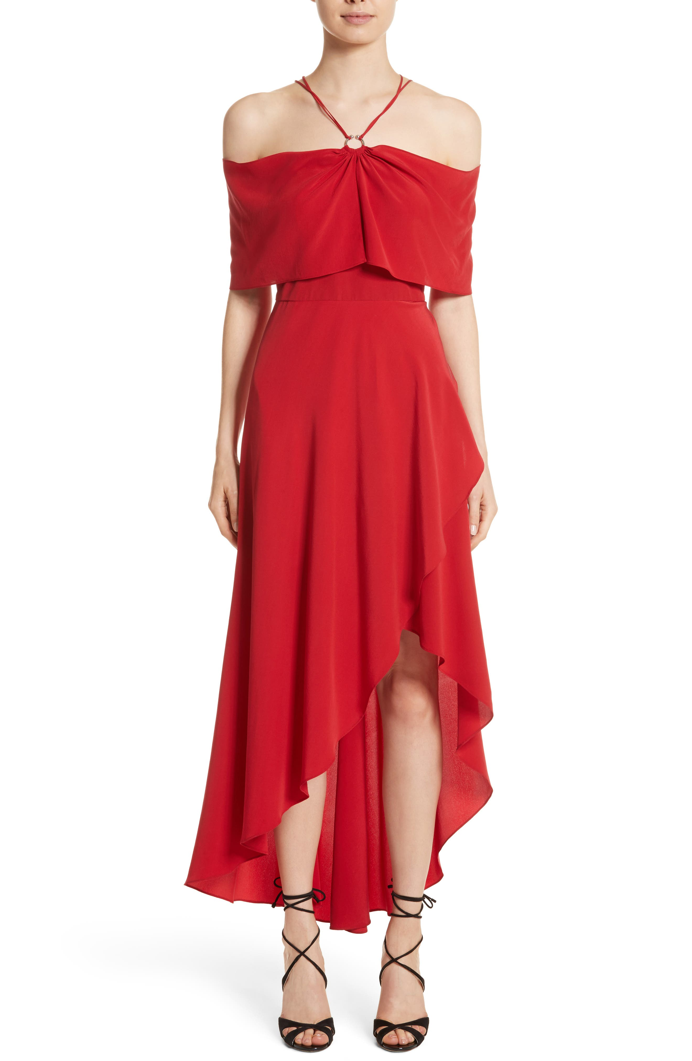 Cold Shoulder Silk Crepe Dress,                         Main,                         color, Hibiscus