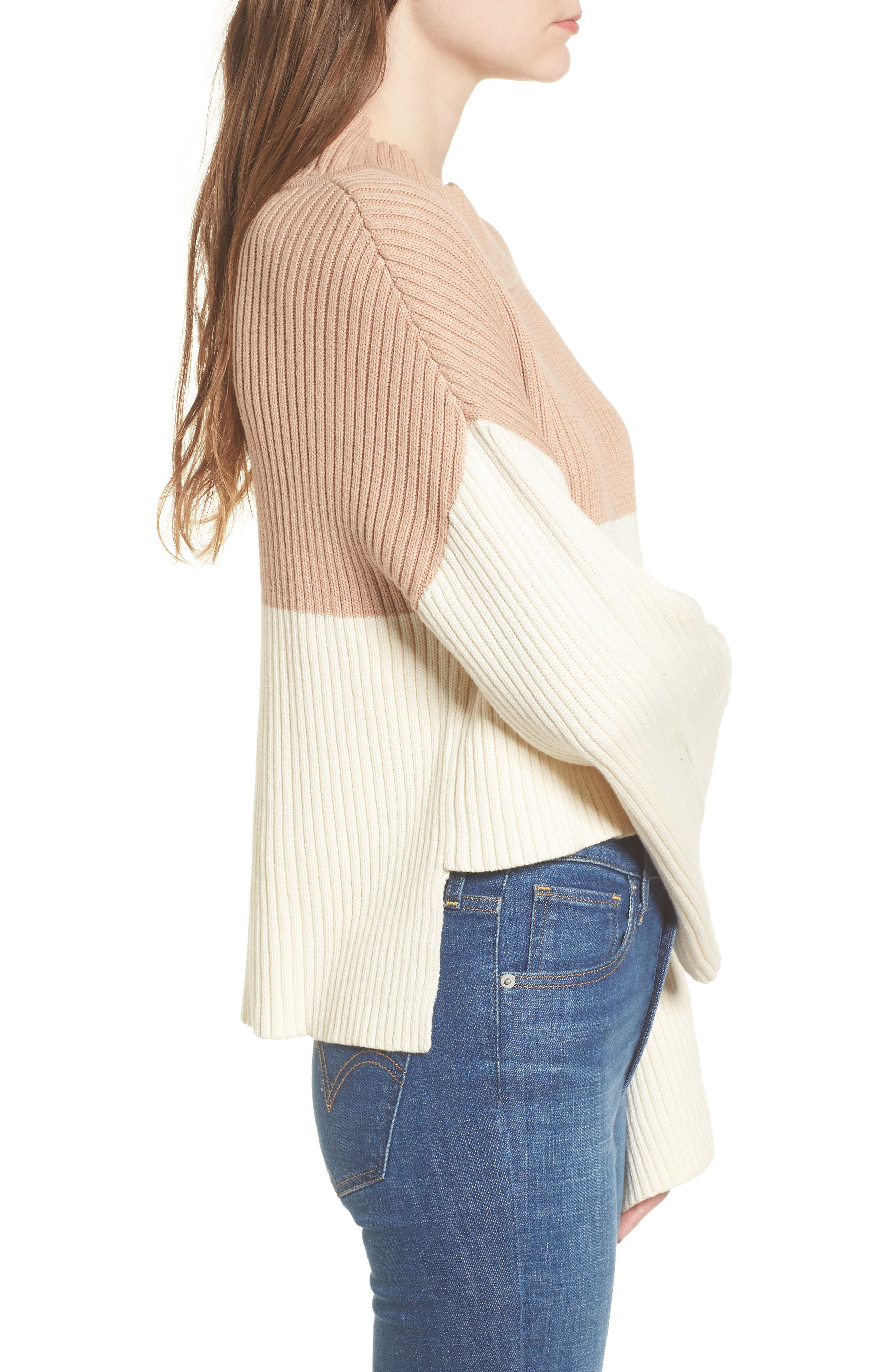 Like a Melody Colorblock Crop Sweater,                             Alternate thumbnail 3, color,                             Cream/ Dusty Pink