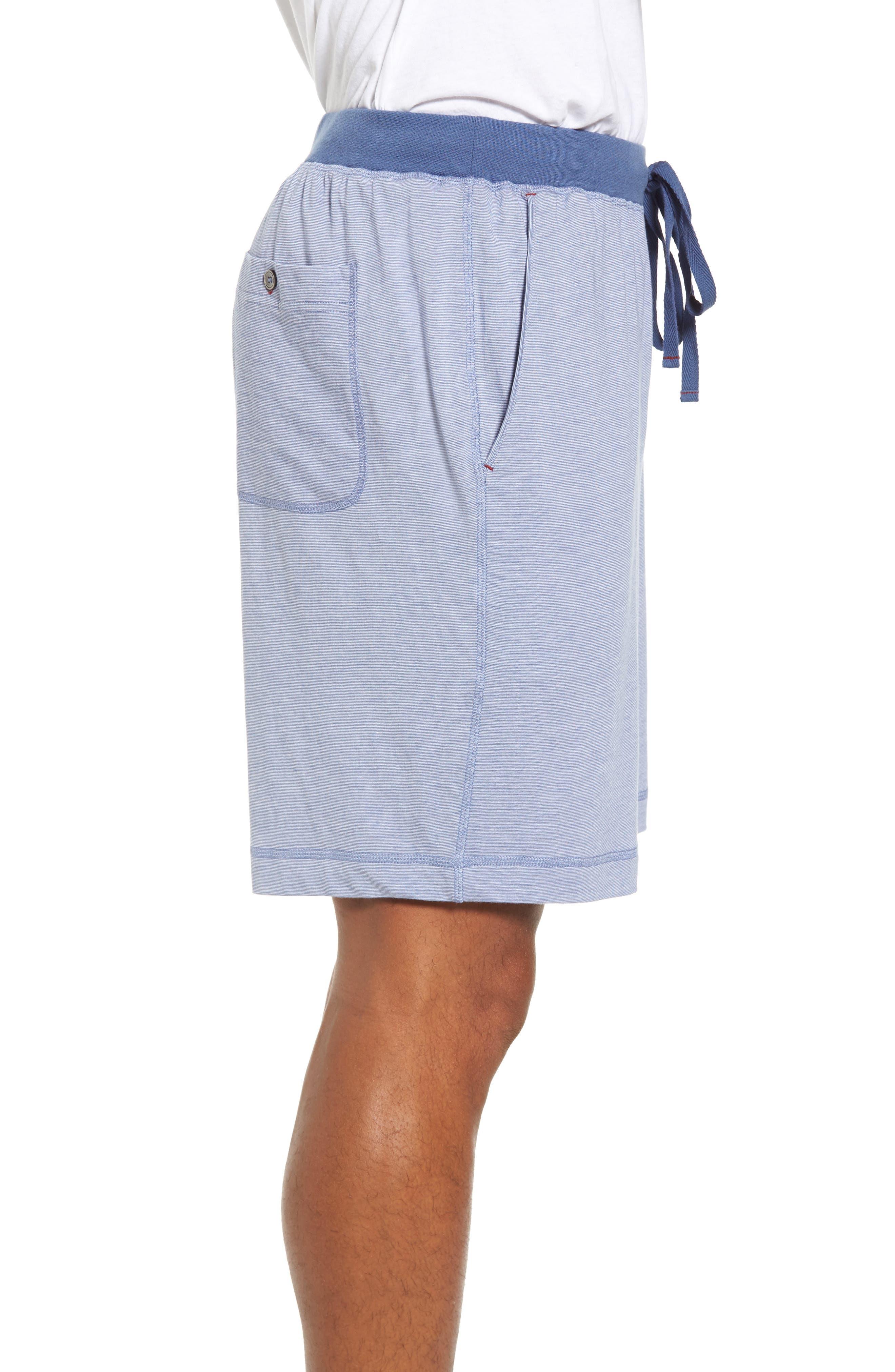 Pima Cotton & Modal Lounge Shorts,                             Alternate thumbnail 3, color,                             Blue/ Ivory