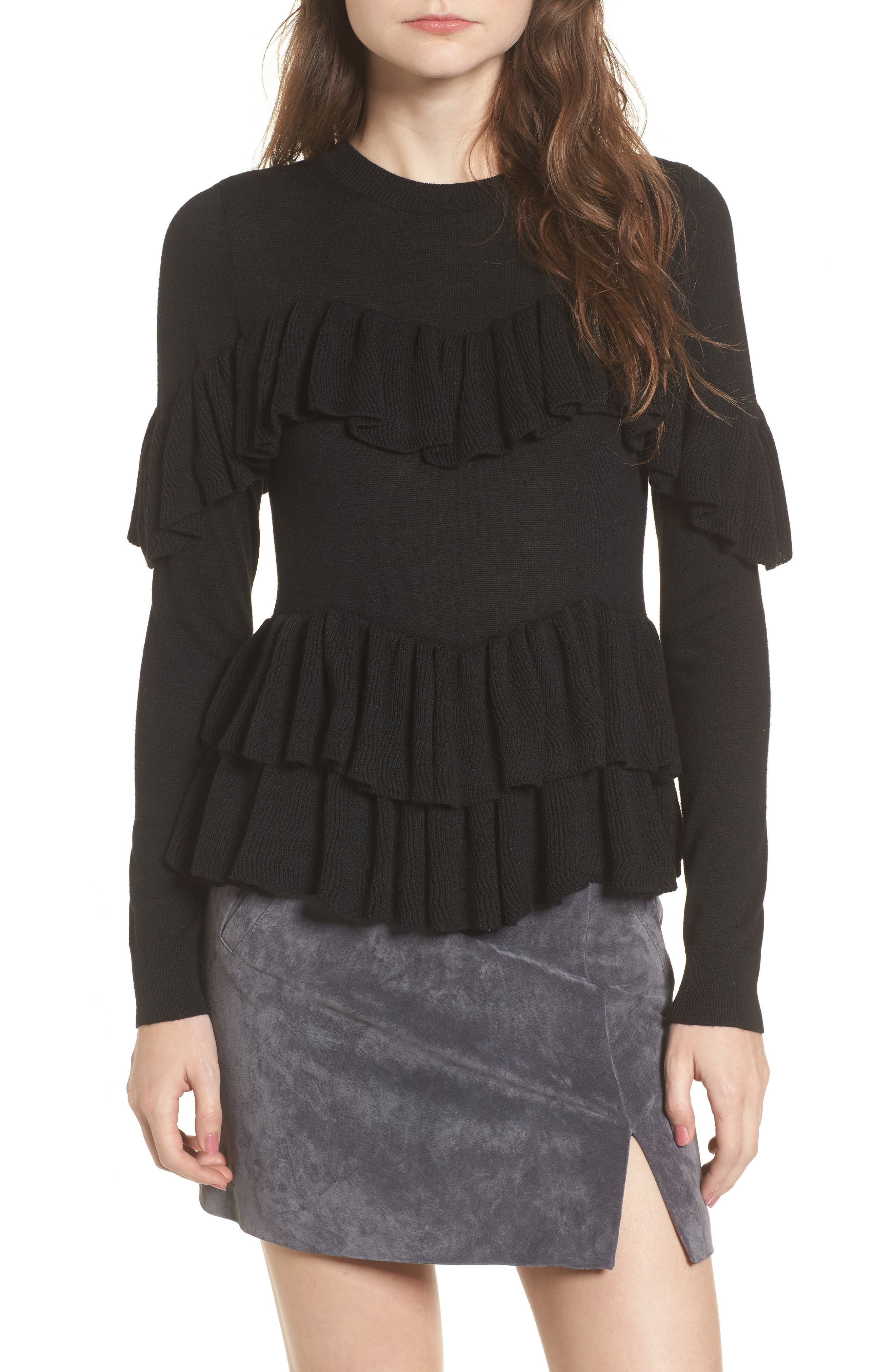 Double Ruffle Sweater,                         Main,                         color, Black