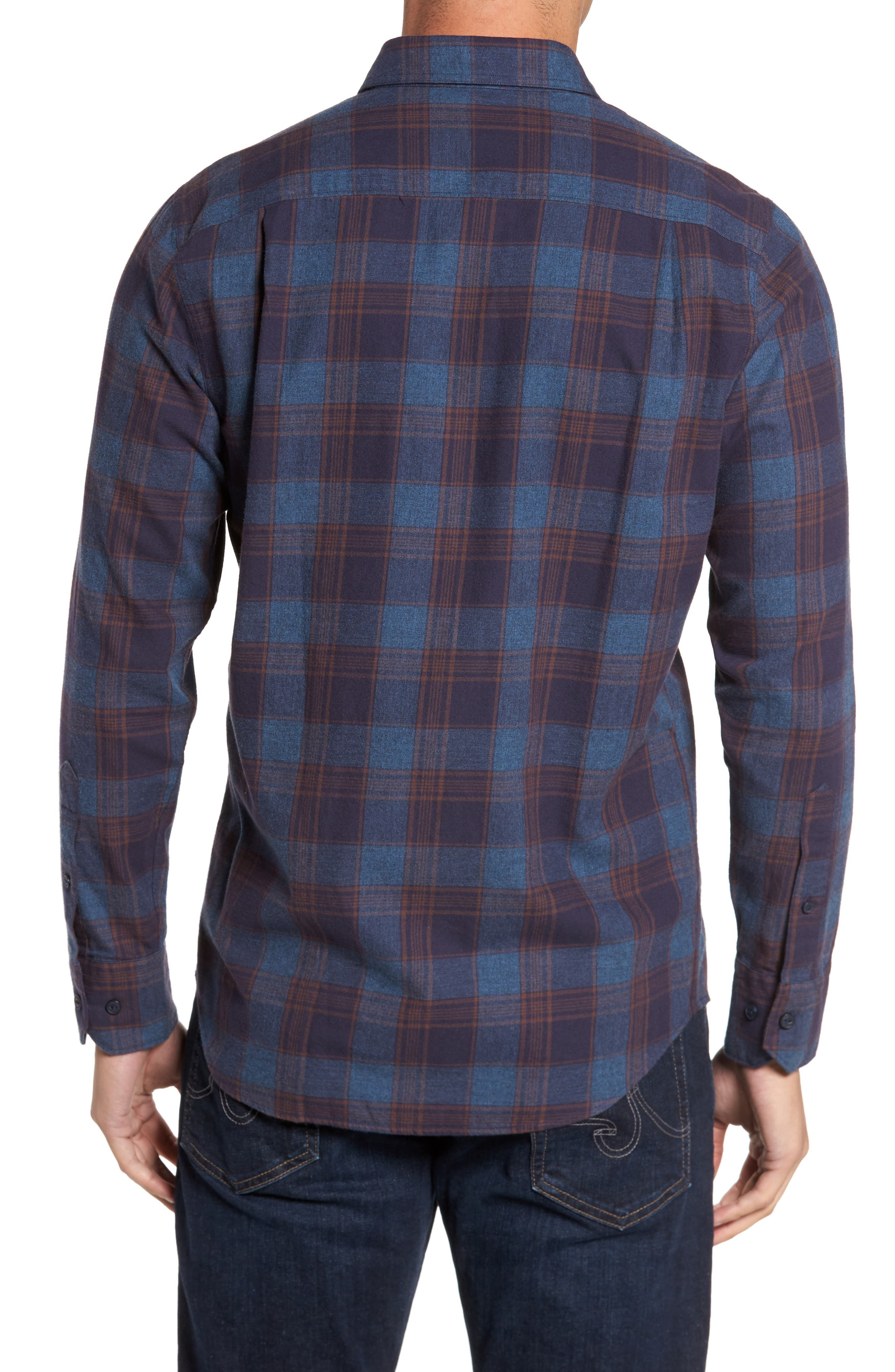 Regular Fit Lumber Check Flannel Shirt,                             Alternate thumbnail 2, color,                             Blue Canal Navy Plaid