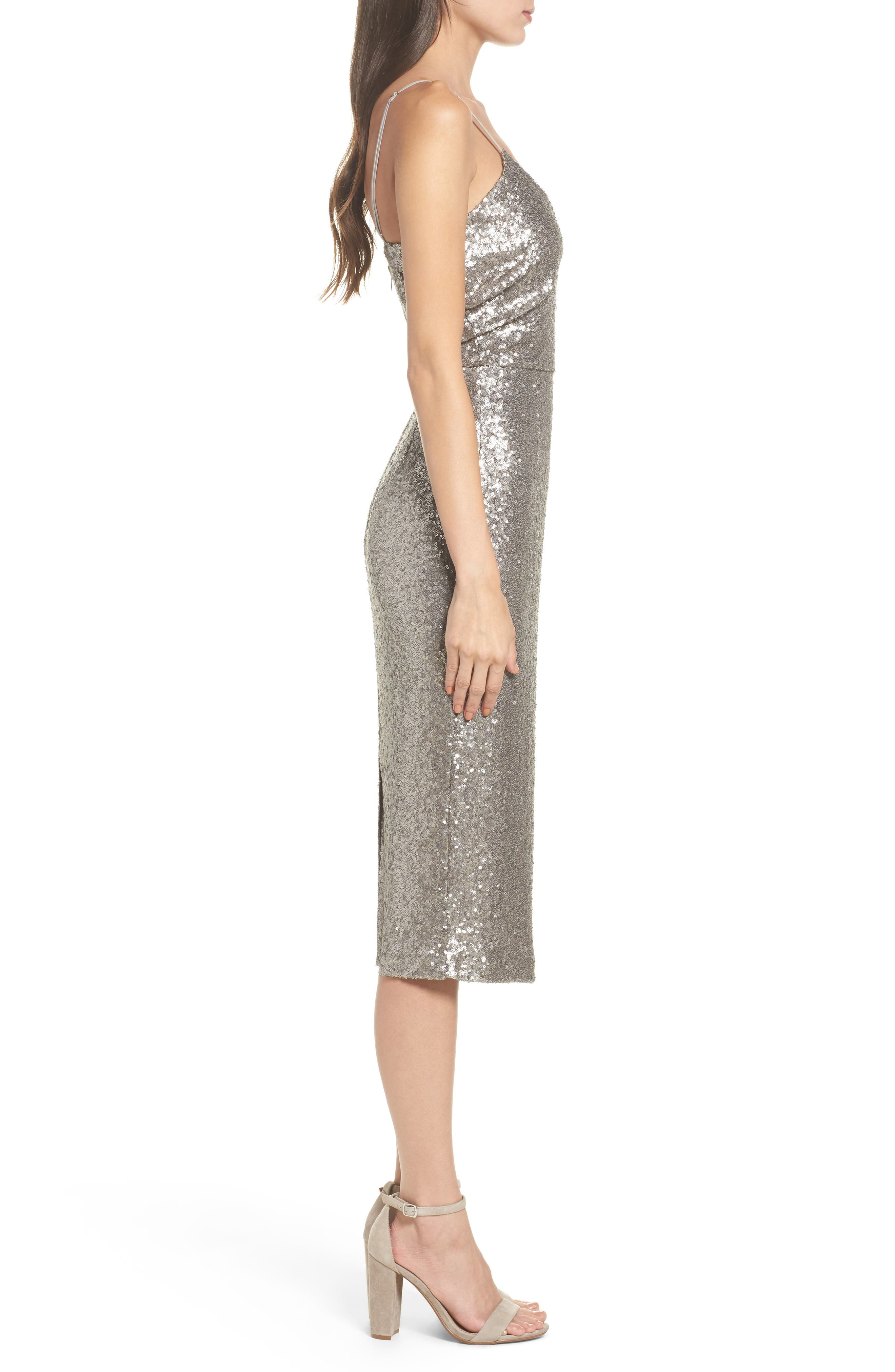 Midnight Lucky Sequin Dress,                             Alternate thumbnail 3, color,                             Sequin