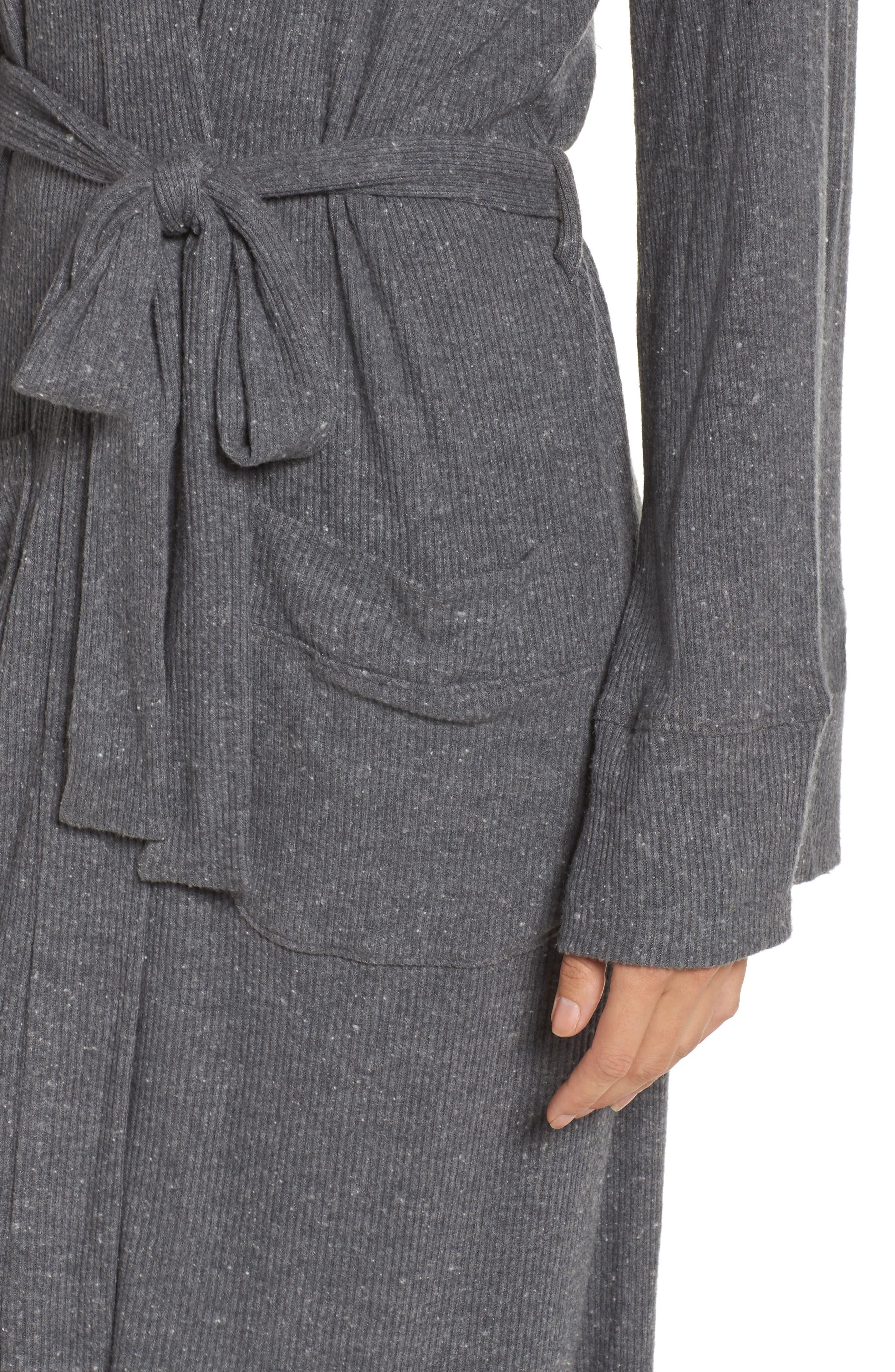 Love Knit Ribbed Robe,                             Alternate thumbnail 5, color,                             Charcoal