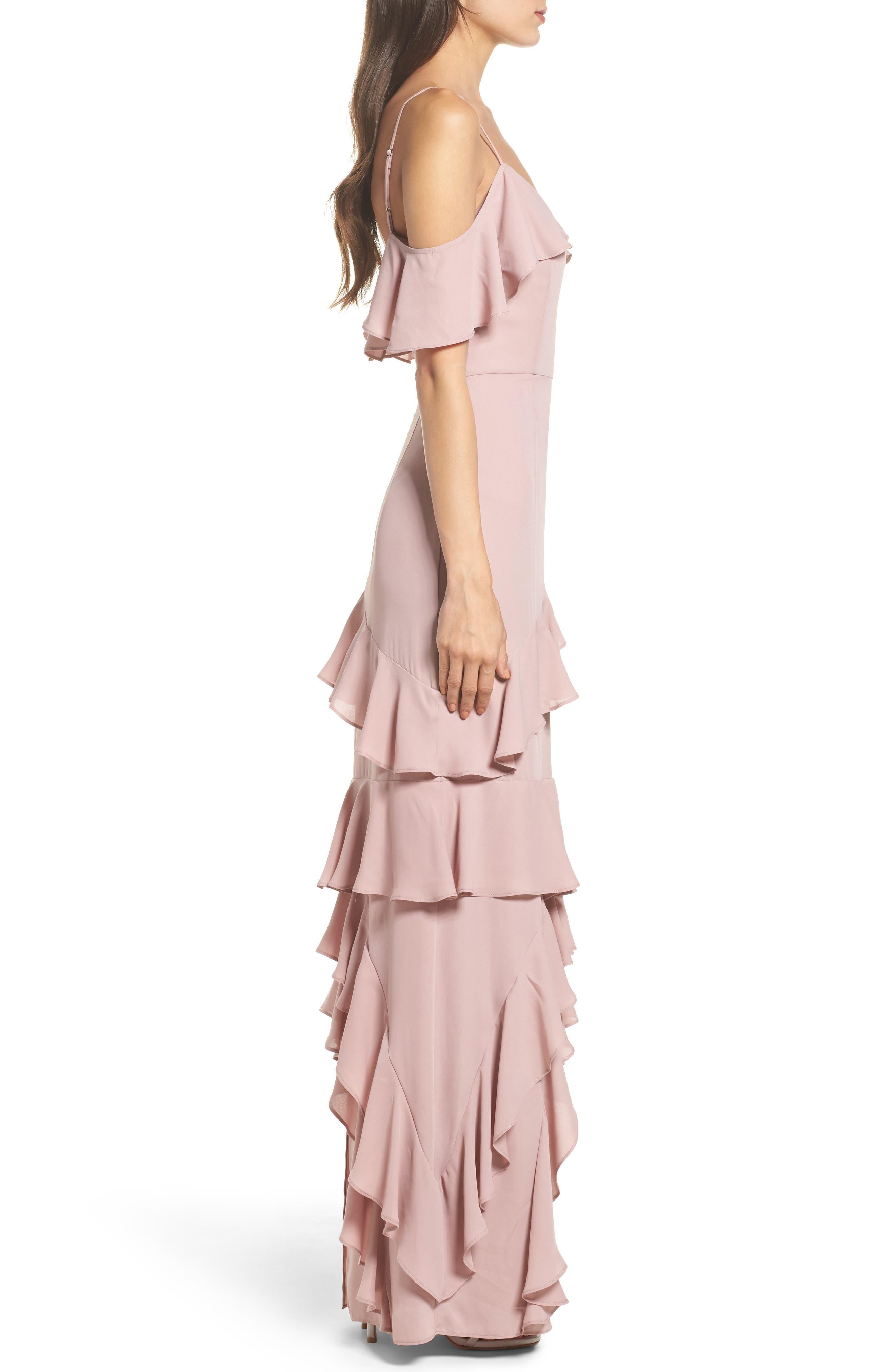 Danielle Off the Shoulder Tiered Crepe Dress,                             Alternate thumbnail 4, color,                             London Fog
