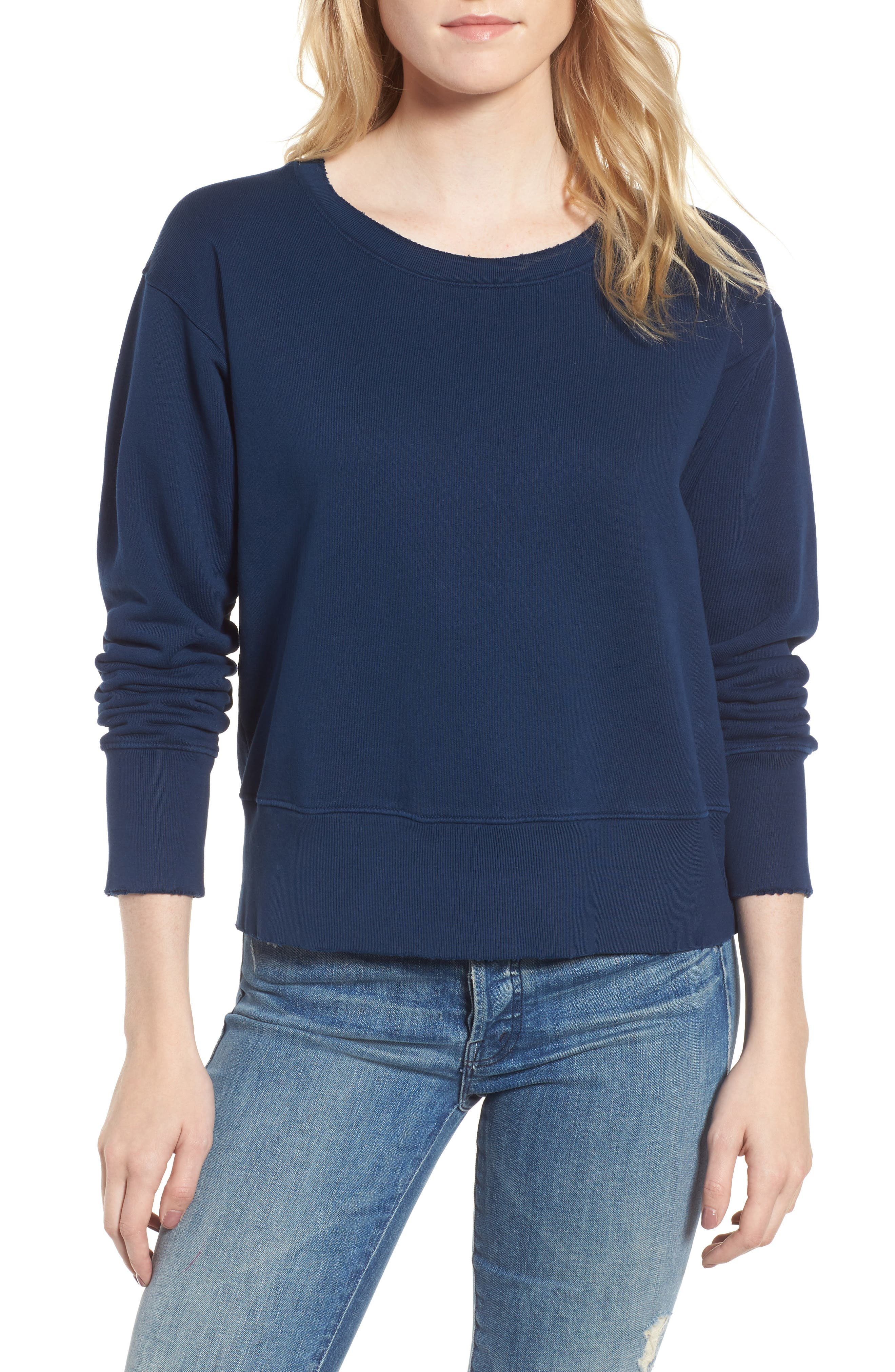 Distressed Sweatshirt,                             Main thumbnail 1, color,                             Blazer