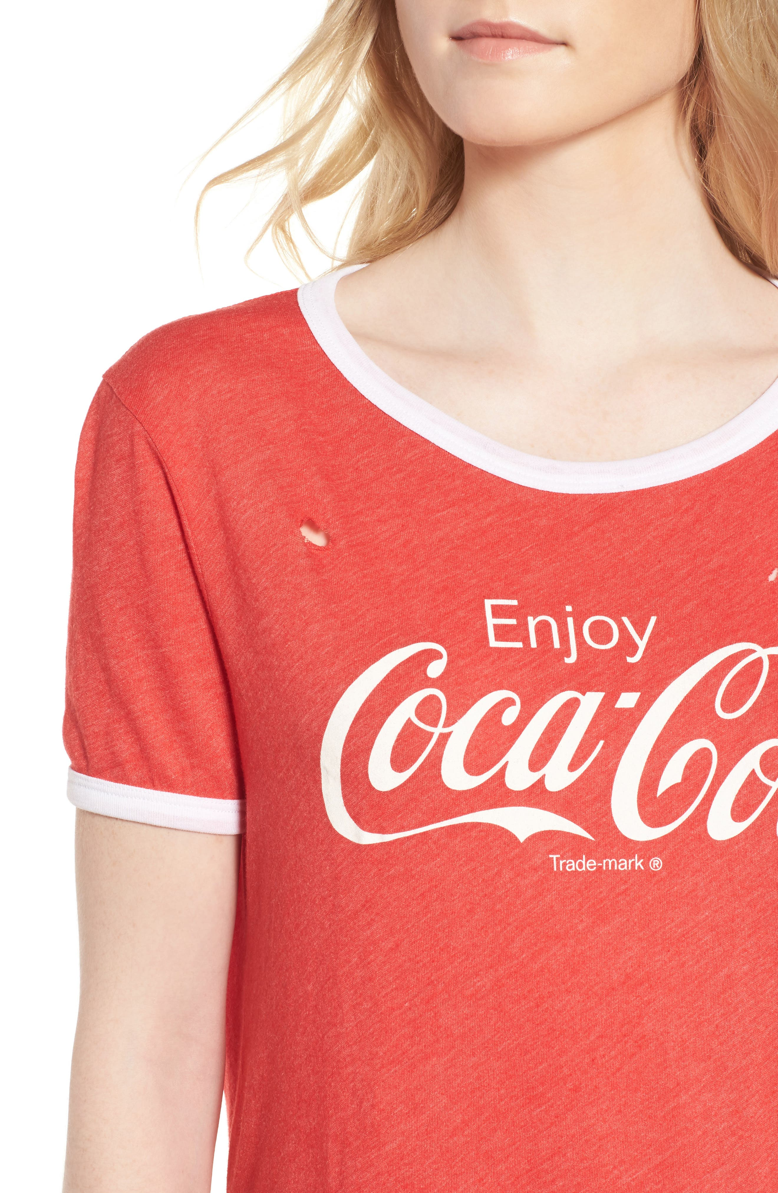 Coca Cola<sup>®</sup> Ringer Tee,                             Alternate thumbnail 4, color,                             Red Line