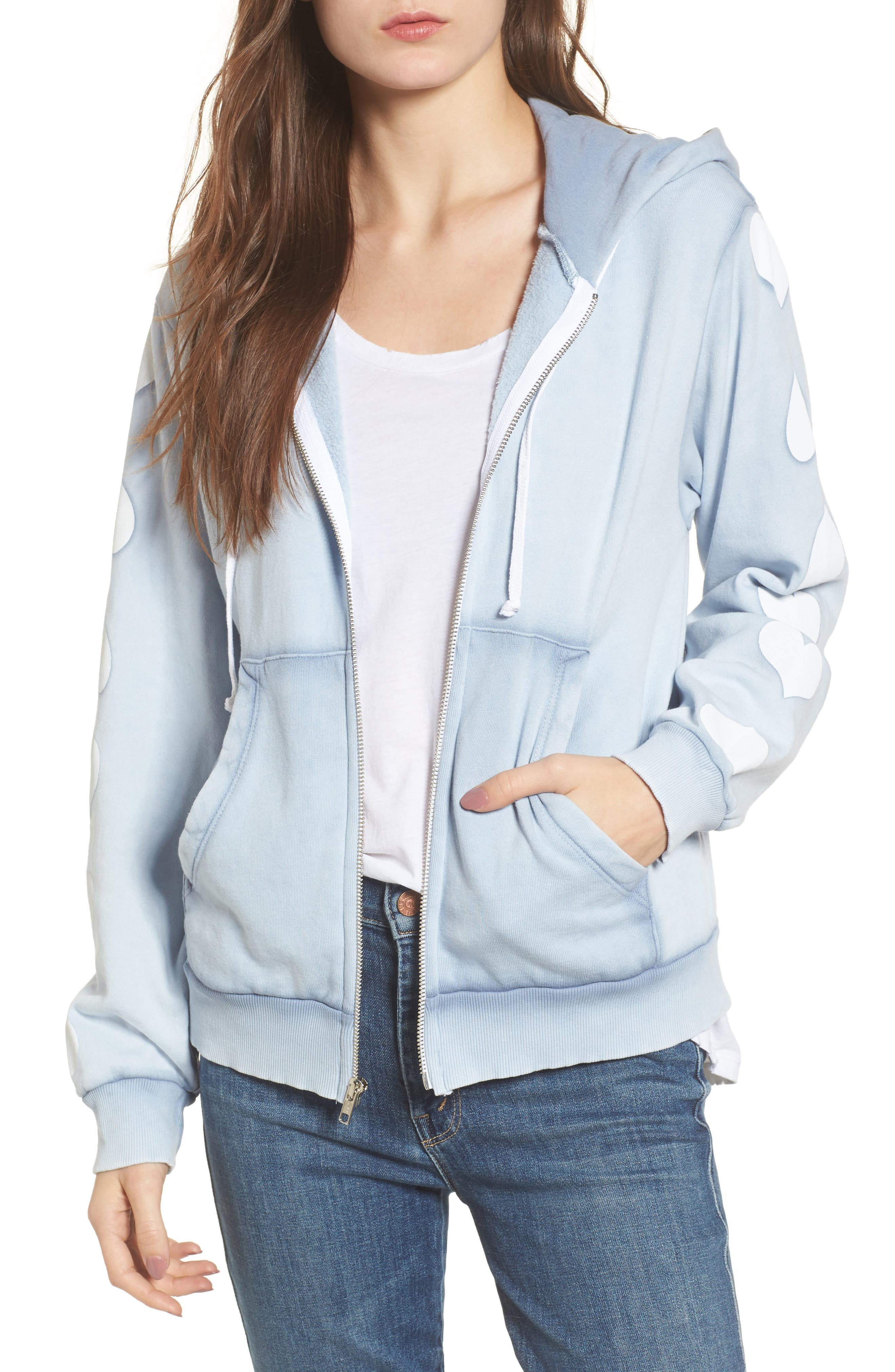 Heart of Hearts Zip Hoodie,                         Main,                         color, Blue Ribbon