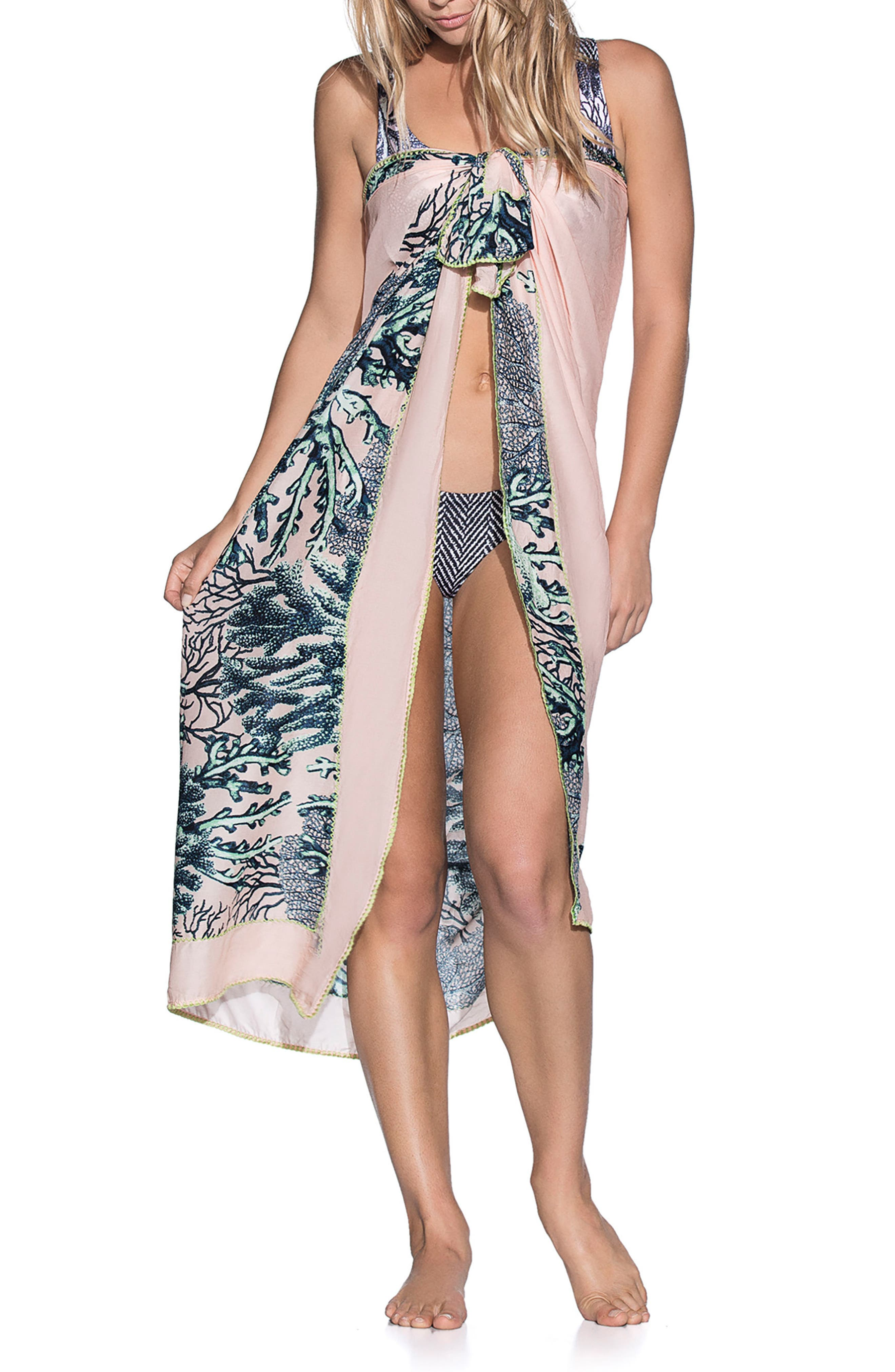 Bar Reef Pareo Cover-Up Wrap,                             Alternate thumbnail 3, color,                             Black Multi