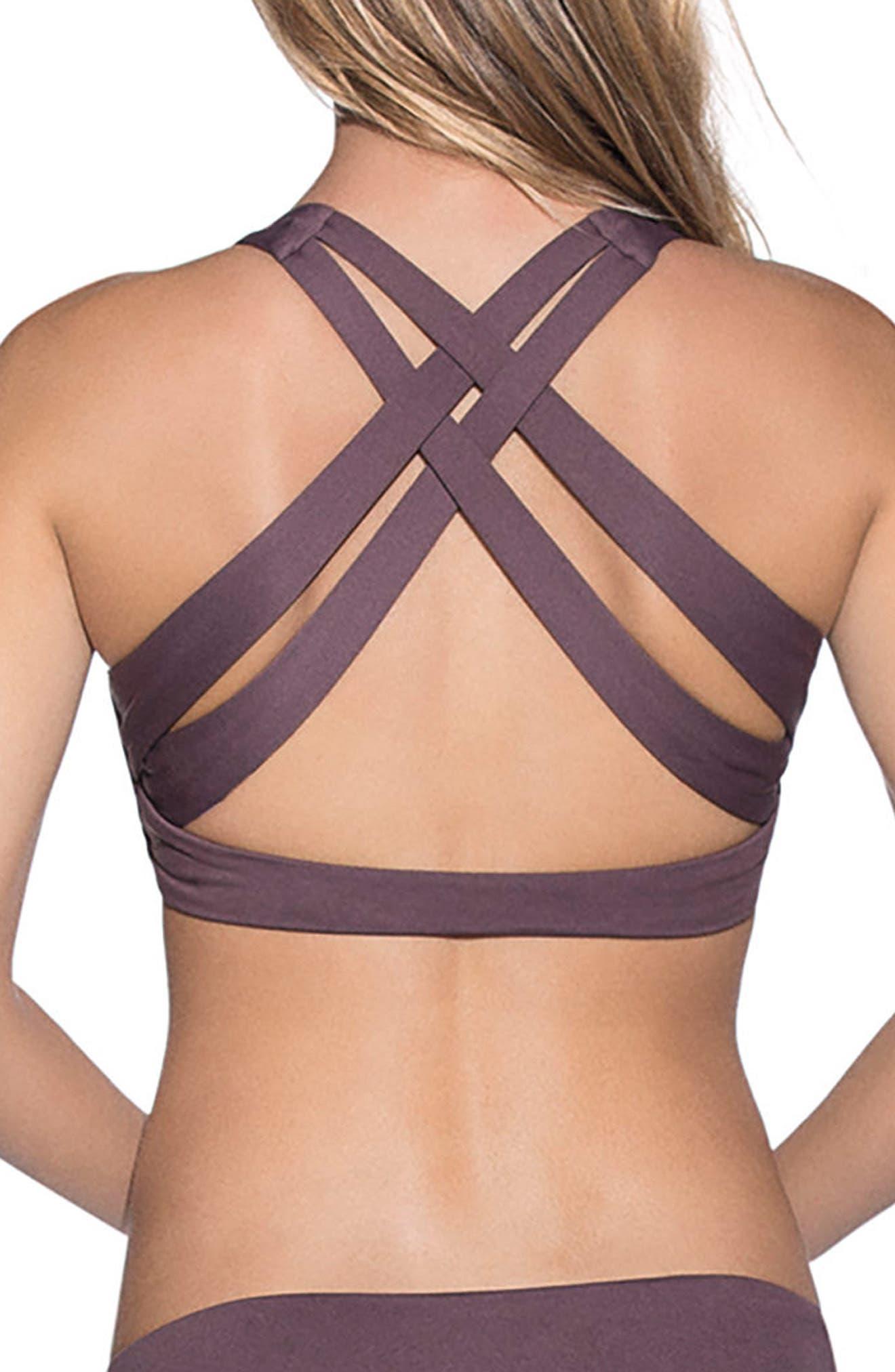 Fig Swirl Reversible Bikini Top,                             Alternate thumbnail 3, color,                             Dark Purple