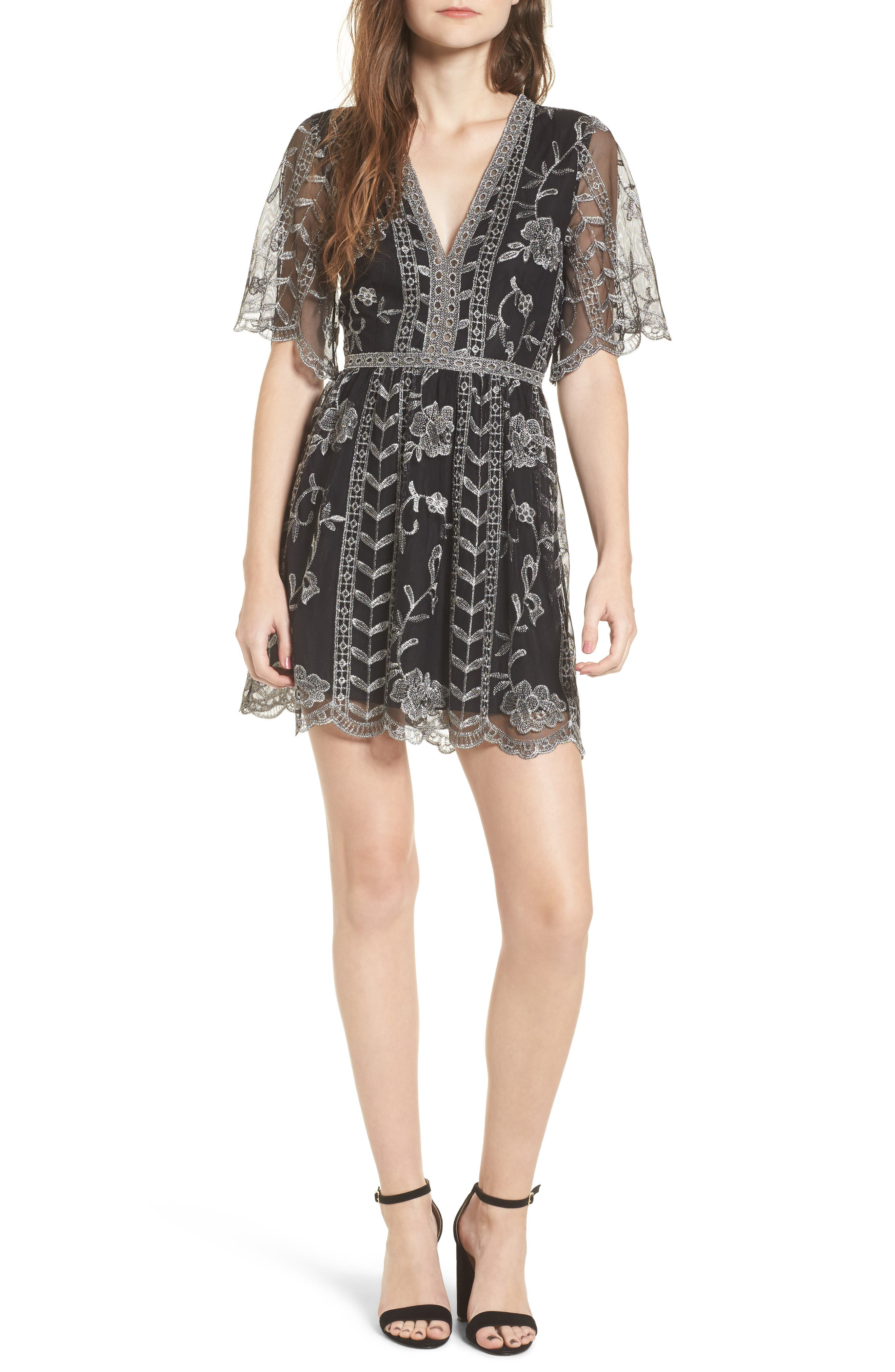 Plunging Lace Dress,                         Main,                         color, Silver