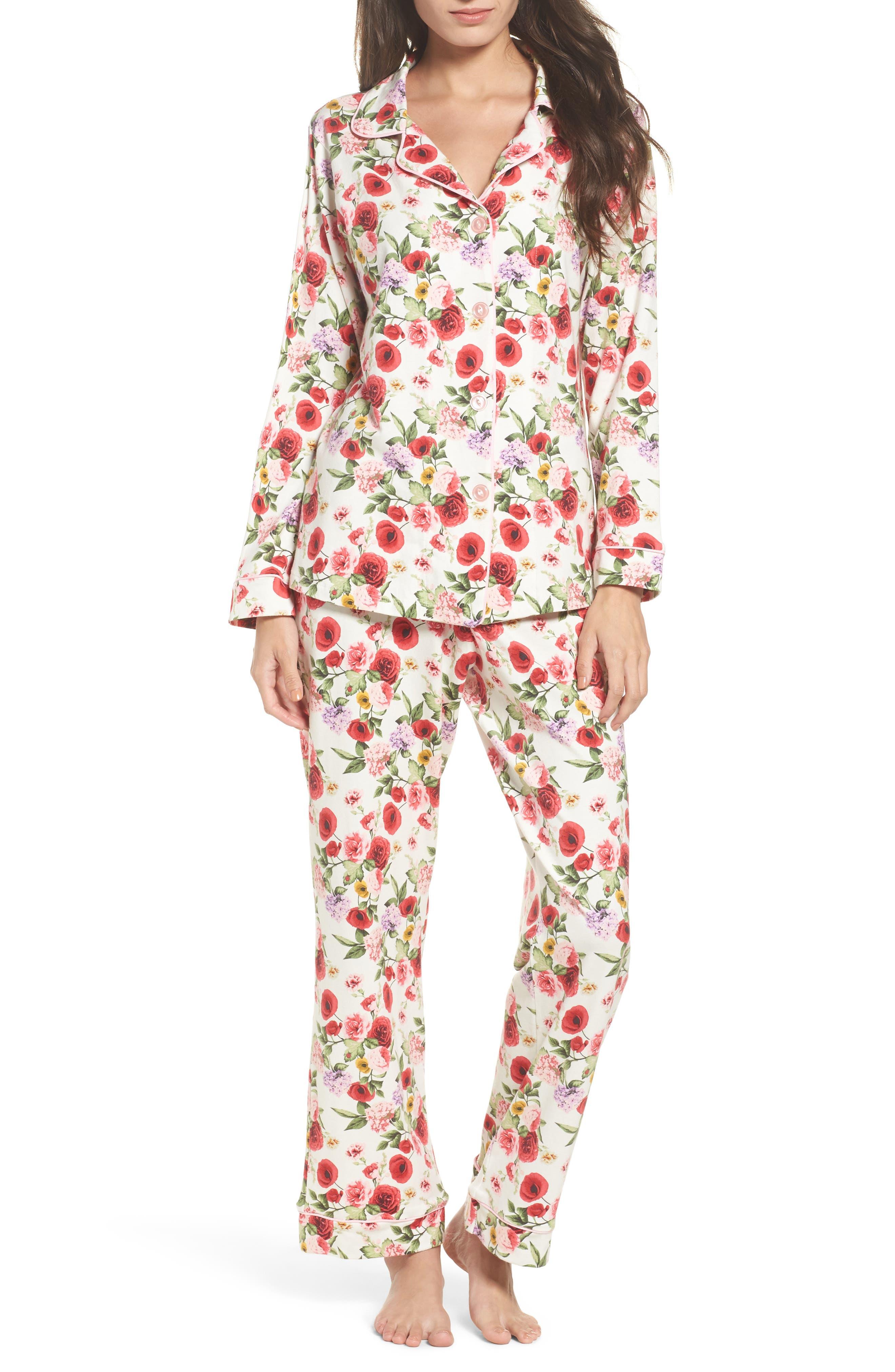 Flower Print Pajamas,                             Main thumbnail 1, color,                             Late Bloomers