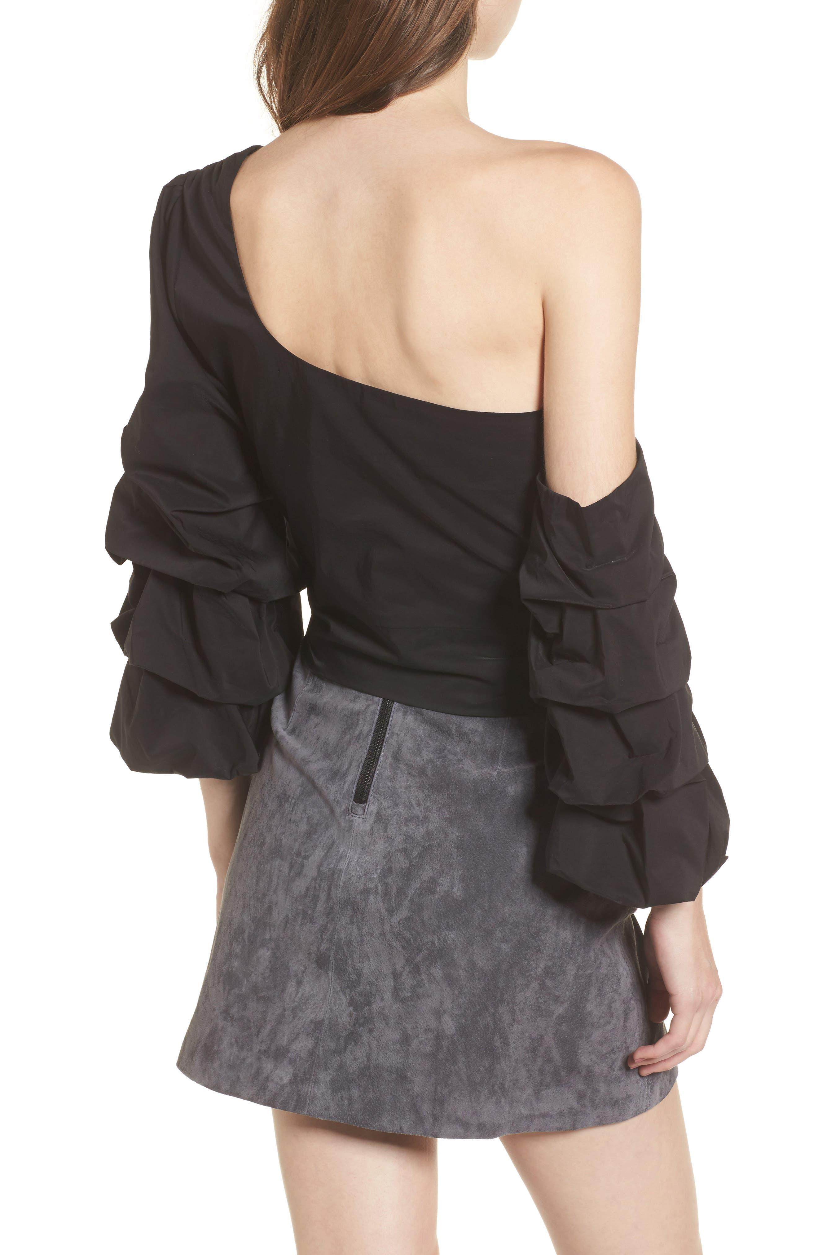 Ruffle One-Shoulder Blouse,                             Alternate thumbnail 2, color,                             Black