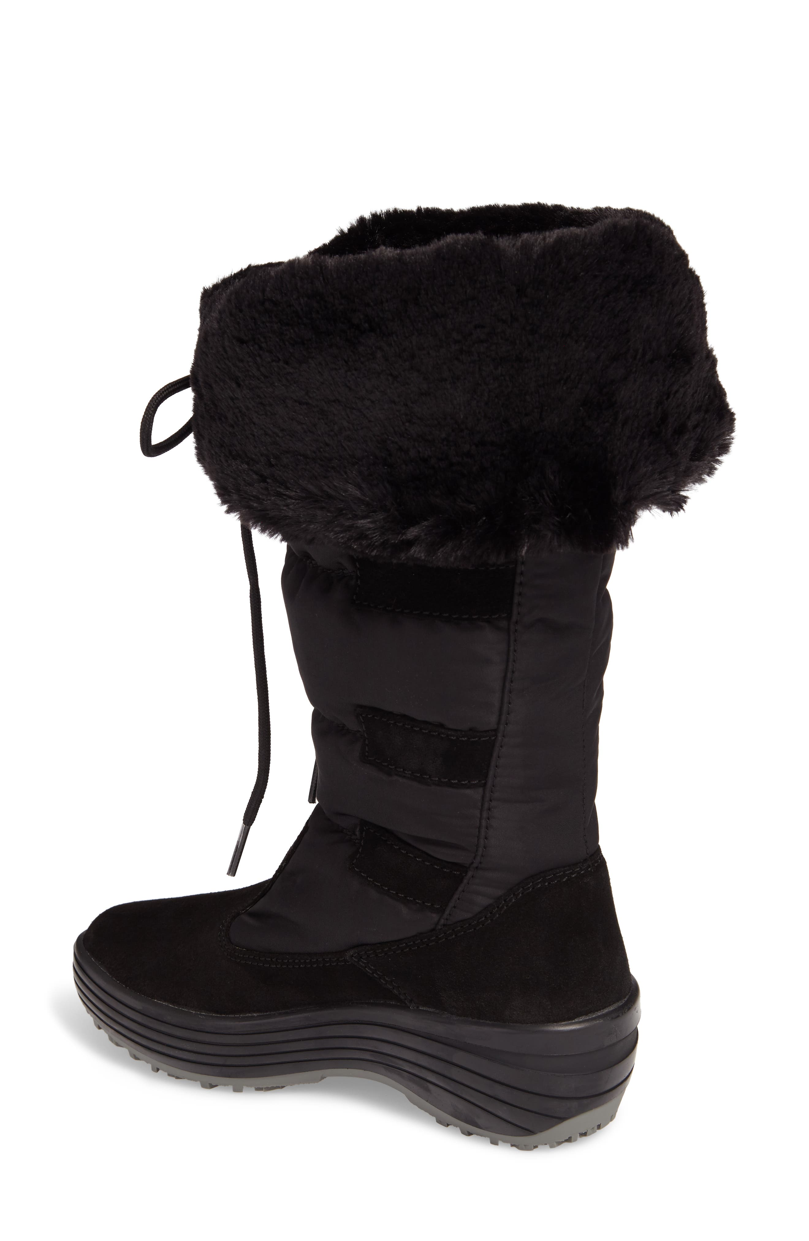 Mia Waterproof Boot with Faux Fur Trim,                             Alternate thumbnail 2, color,                             Black Suede