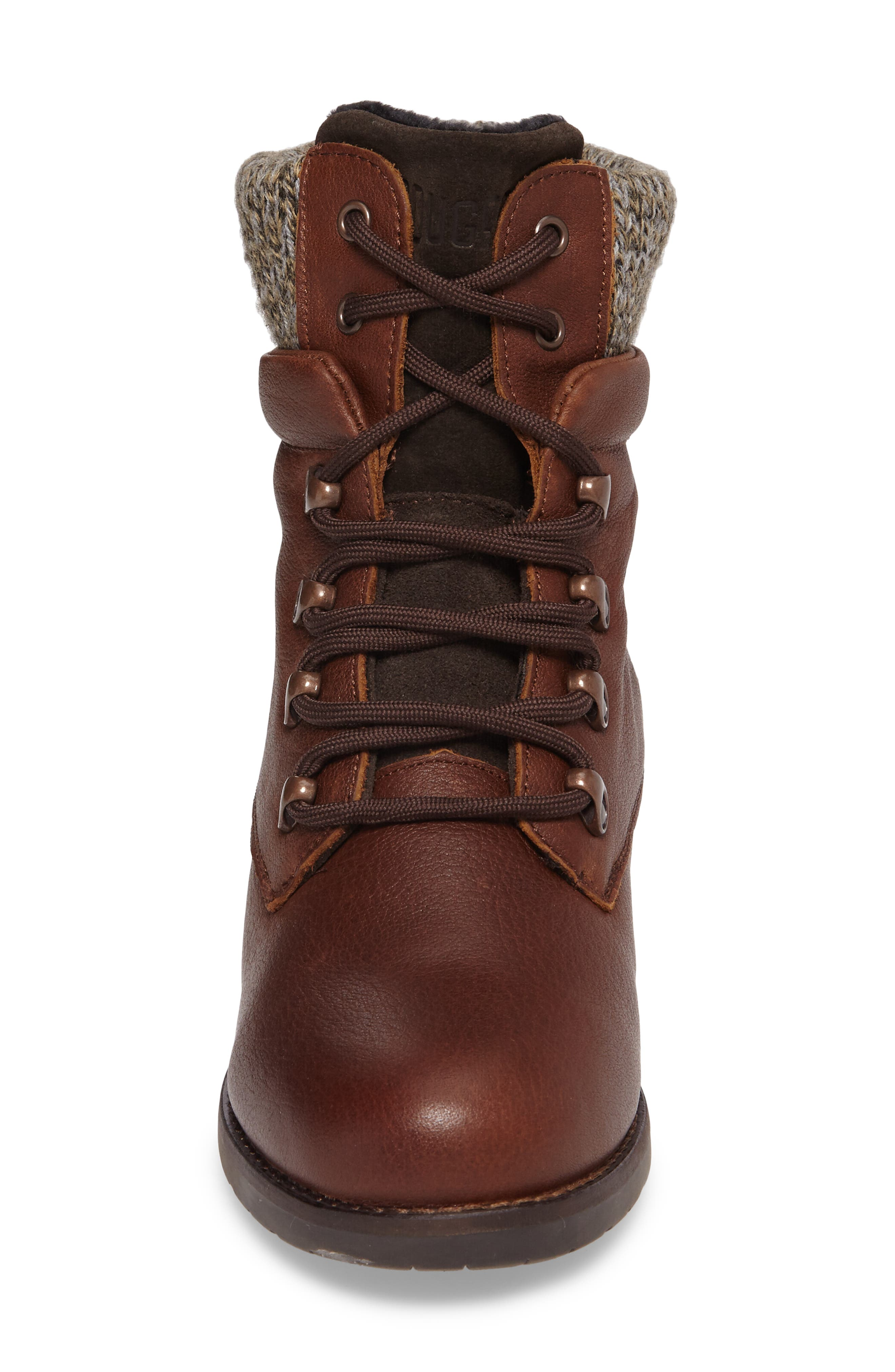 Derry Waterproof Boot,                             Alternate thumbnail 4, color,                             Dark Brown Leather