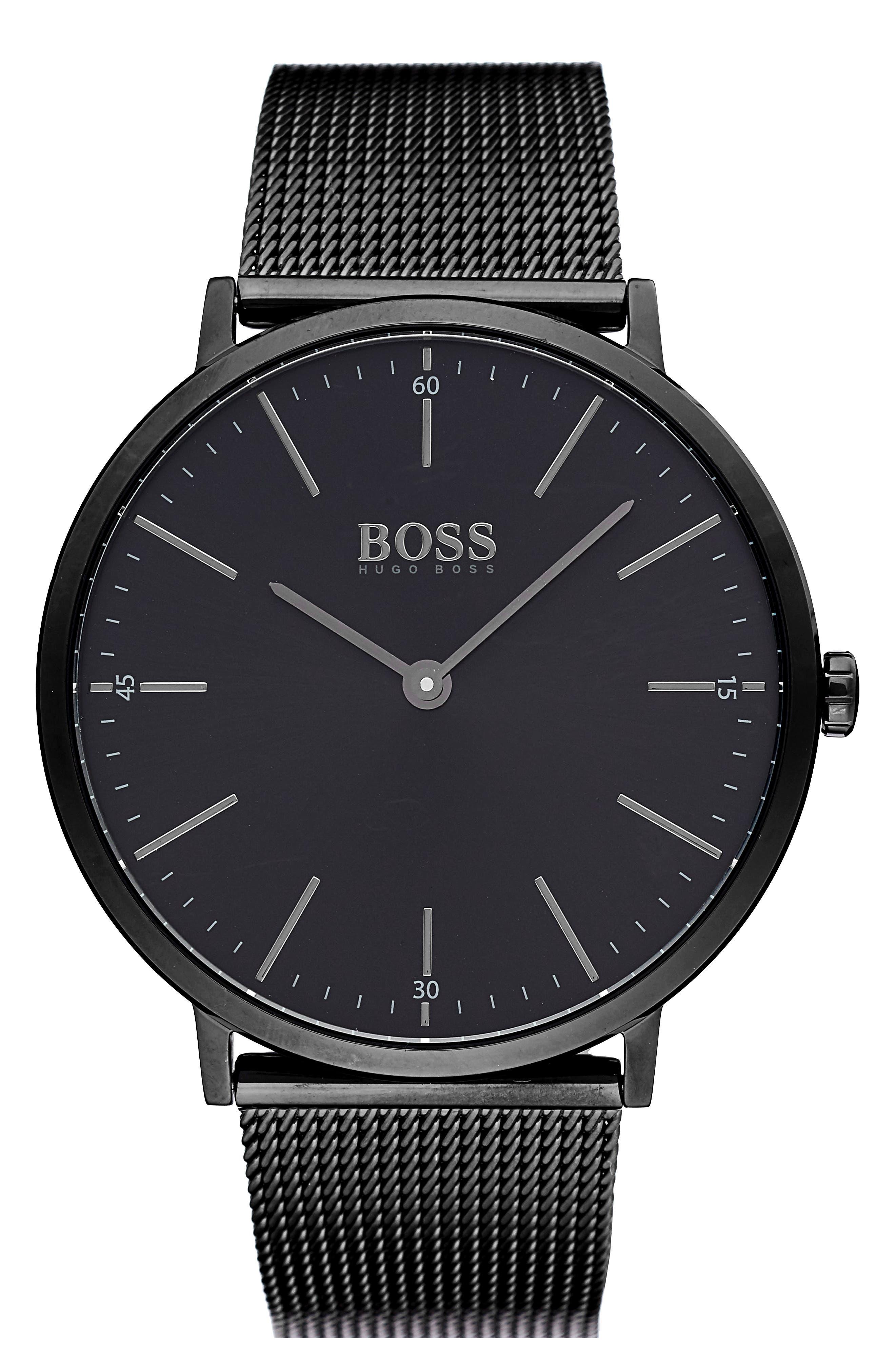 Horizon Mesh Strap Watch, 40mm,                         Main,                         color, Black/ Black