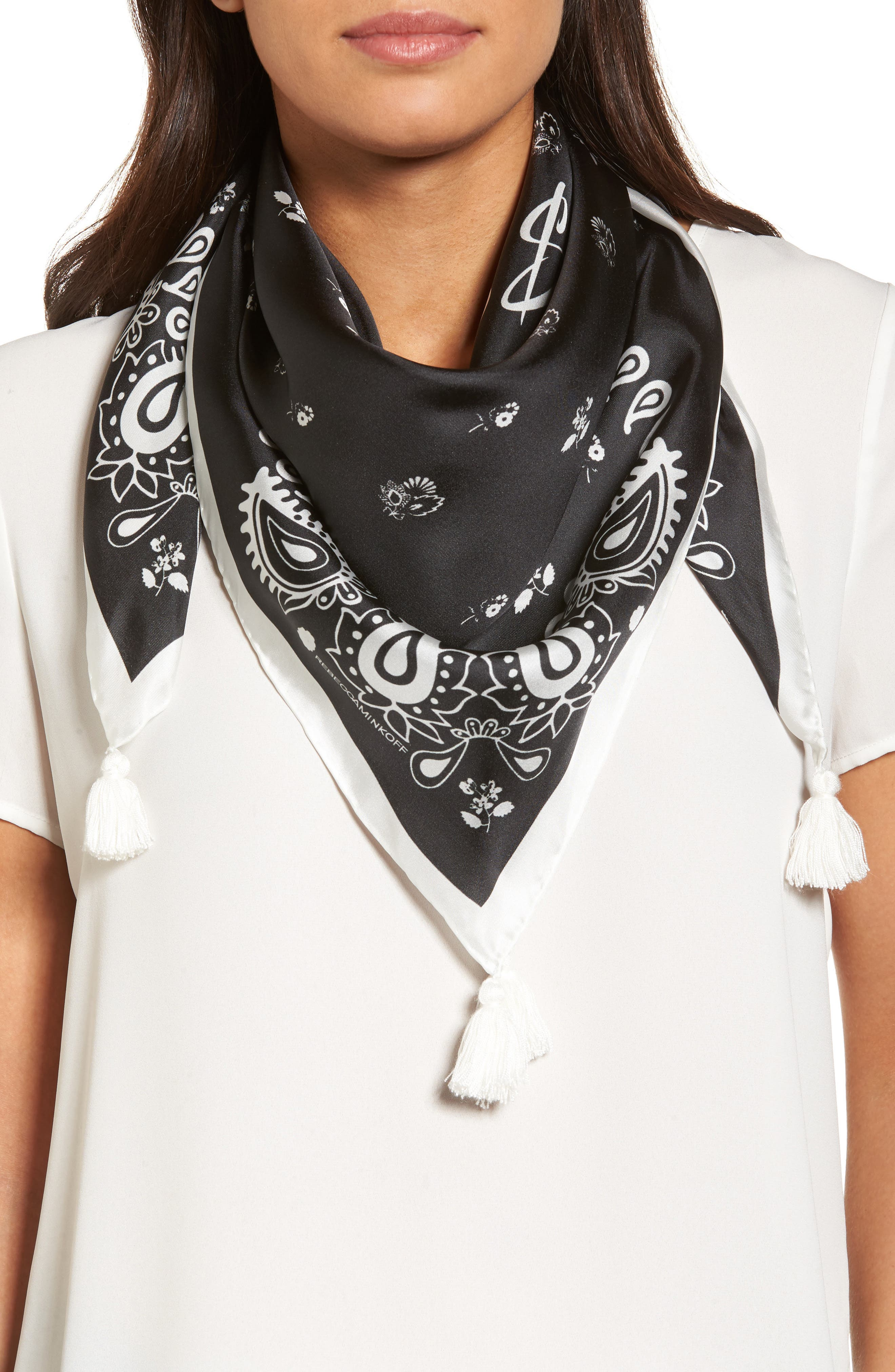 Tossed Florette Square Silk Scarf,                         Main,                         color, Black