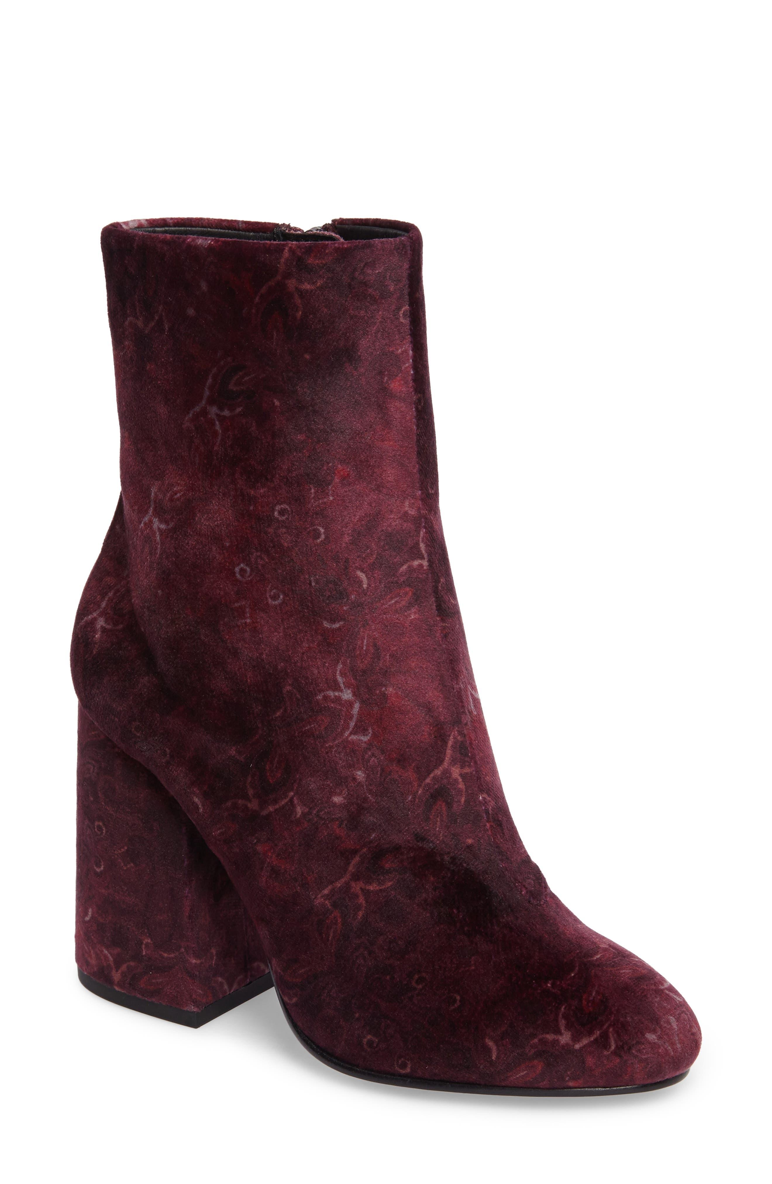 Fedora Bootie,                         Main,                         color, Bordeaux Velvet
