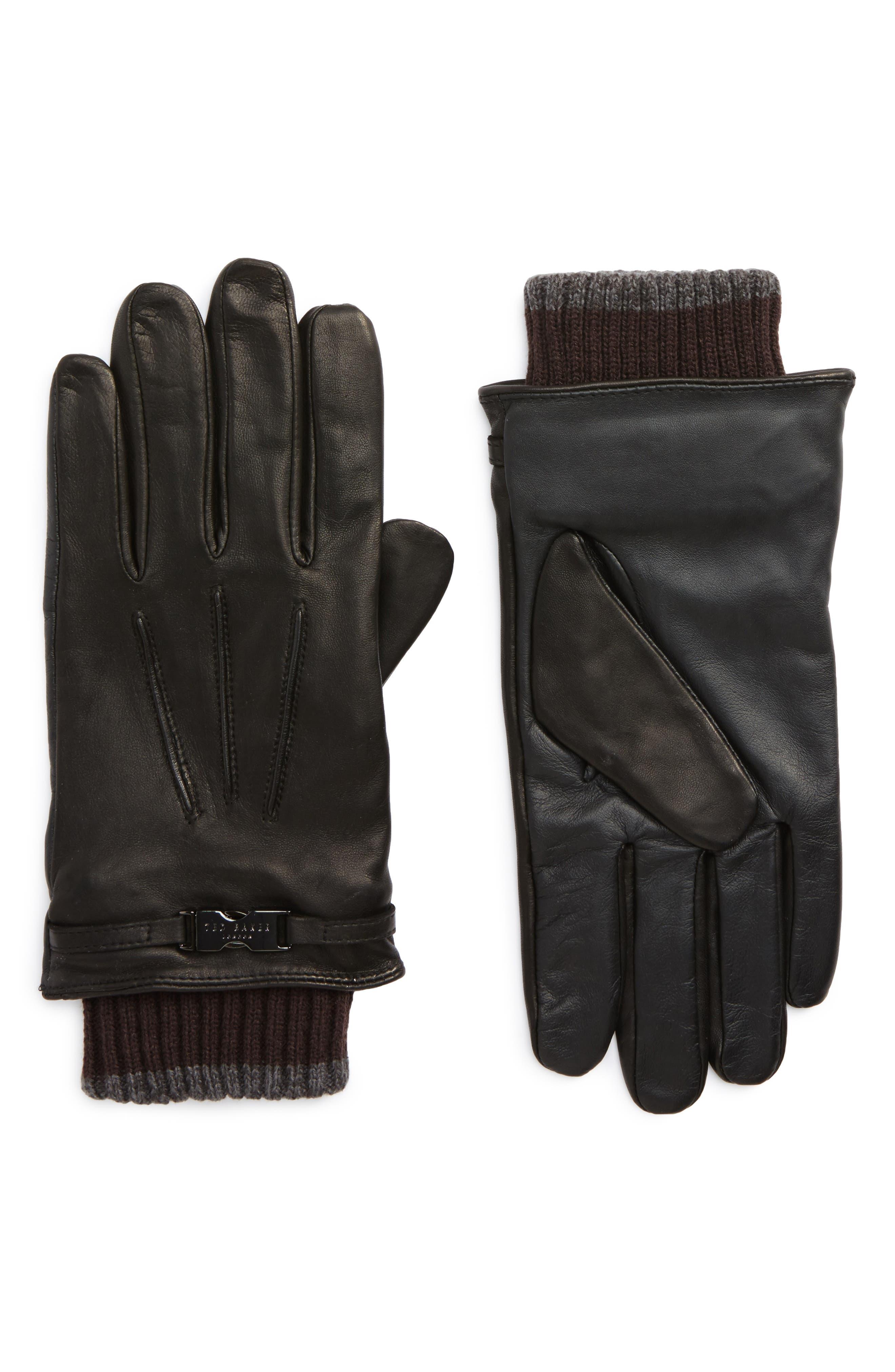 Quiff Leather Gloves,                         Main,                         color, Black
