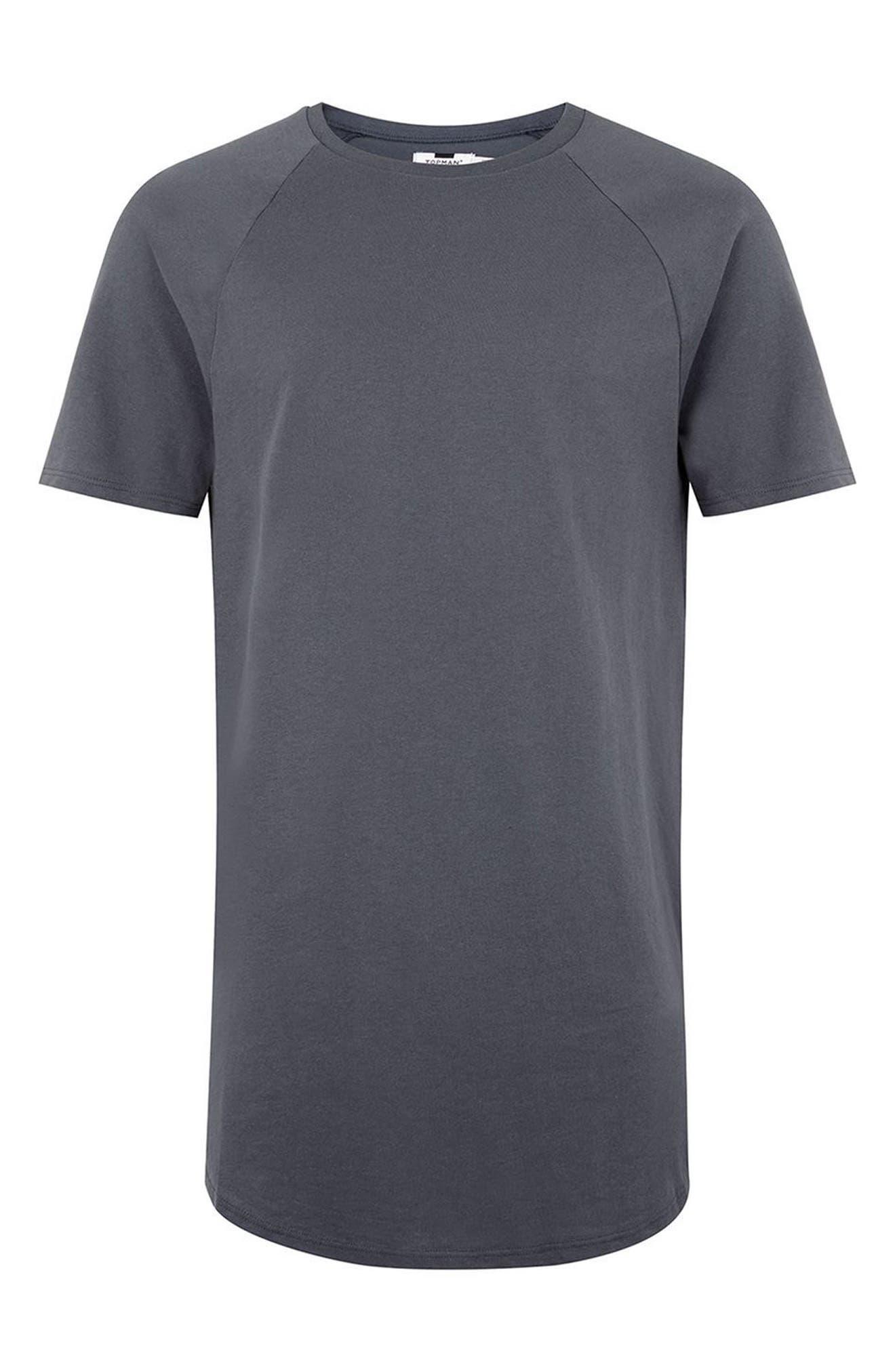 Side Zip Longline T-Shirt,                             Alternate thumbnail 4, color,                             Grey