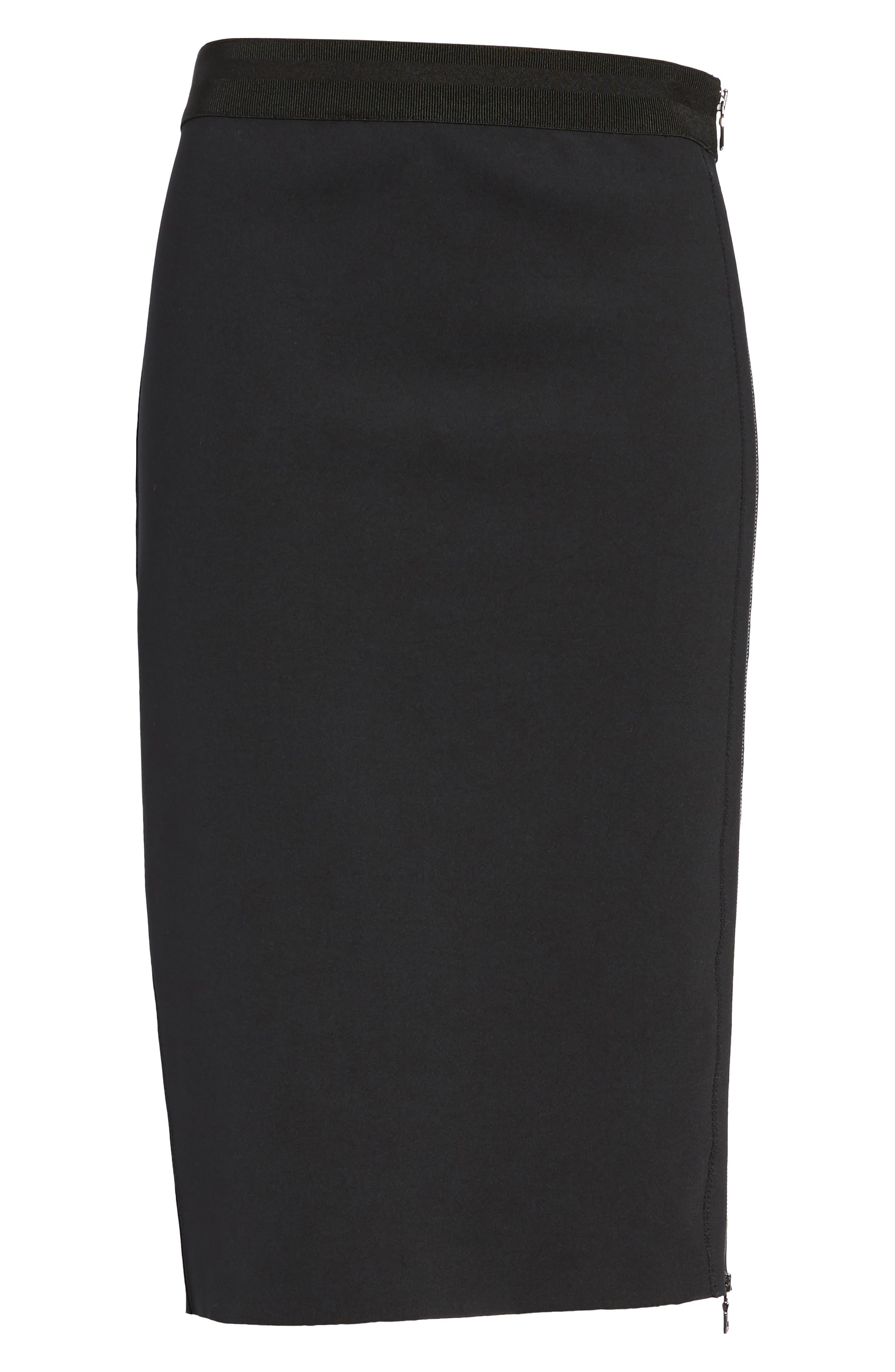Side Zip Pencil Skirt,                             Alternate thumbnail 5, color,                             Black