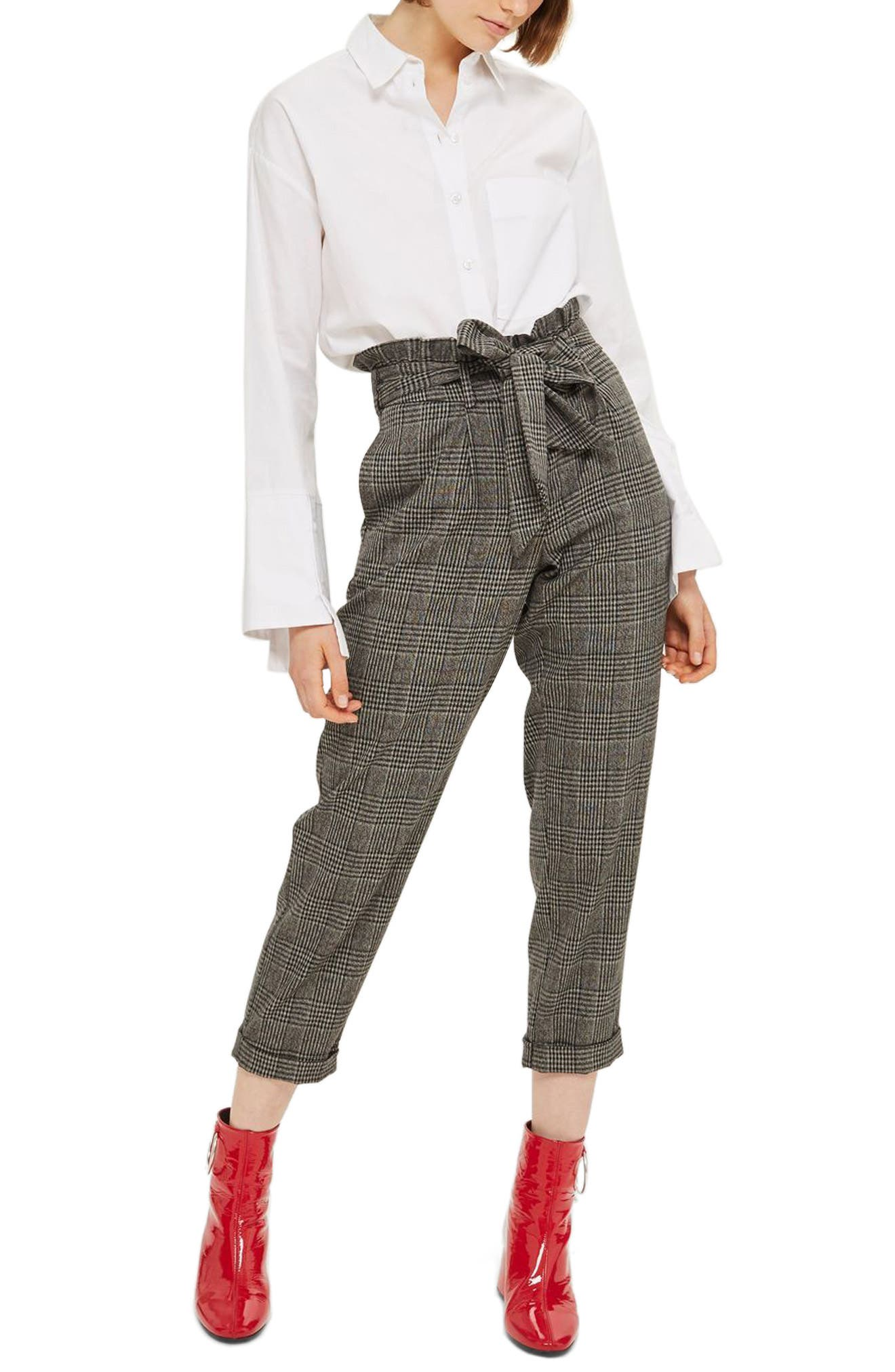 Topshop Pow Check Mensy Ruffle Trousers