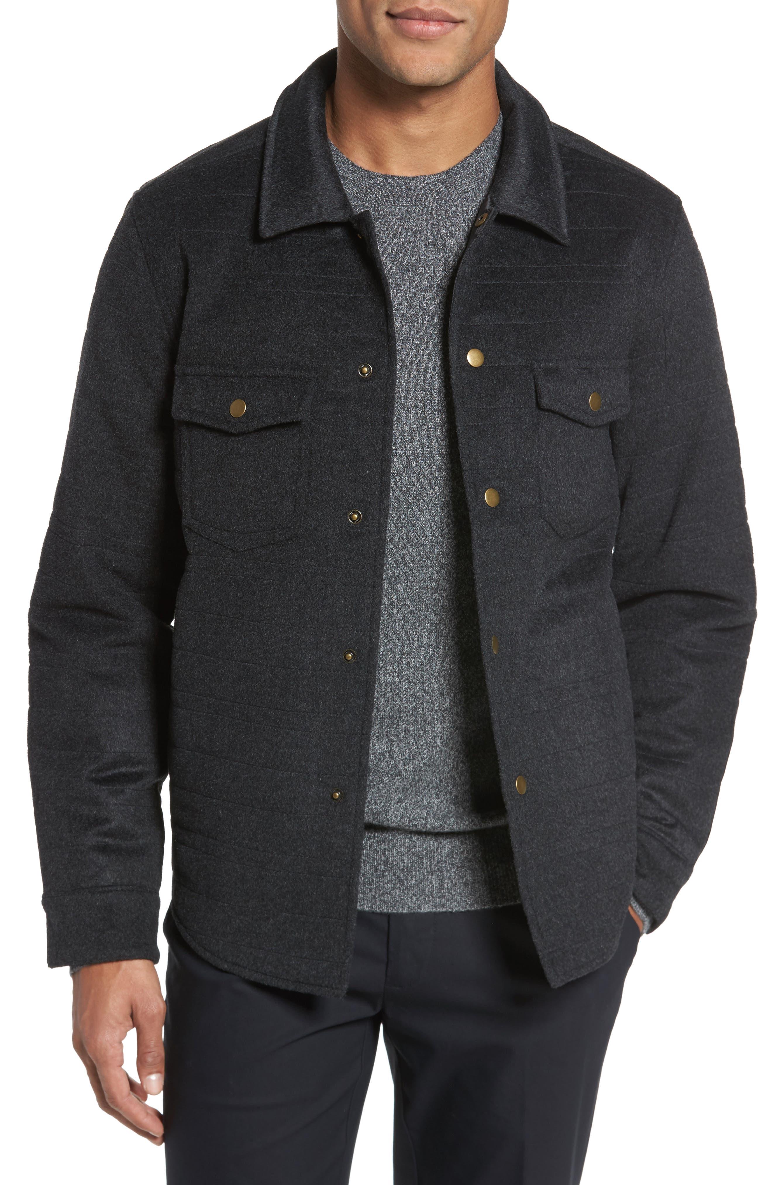 Michael Slim Fit Quilted Shirt Jacket,                             Main thumbnail 1, color,                             Dark Char Melange