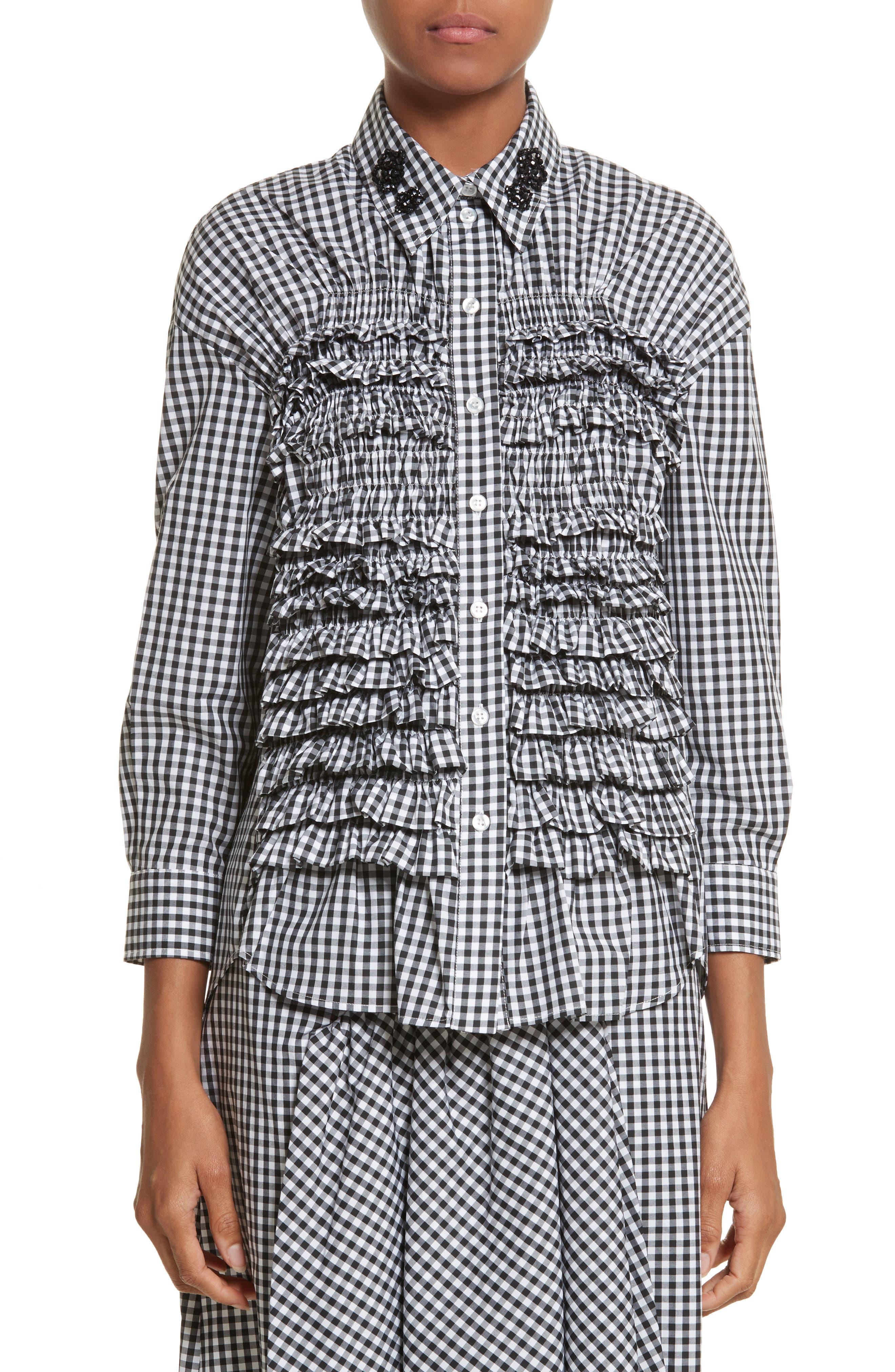 Alternate Image 1 Selected - Simone Rocha Beaded Smock Front Shirt