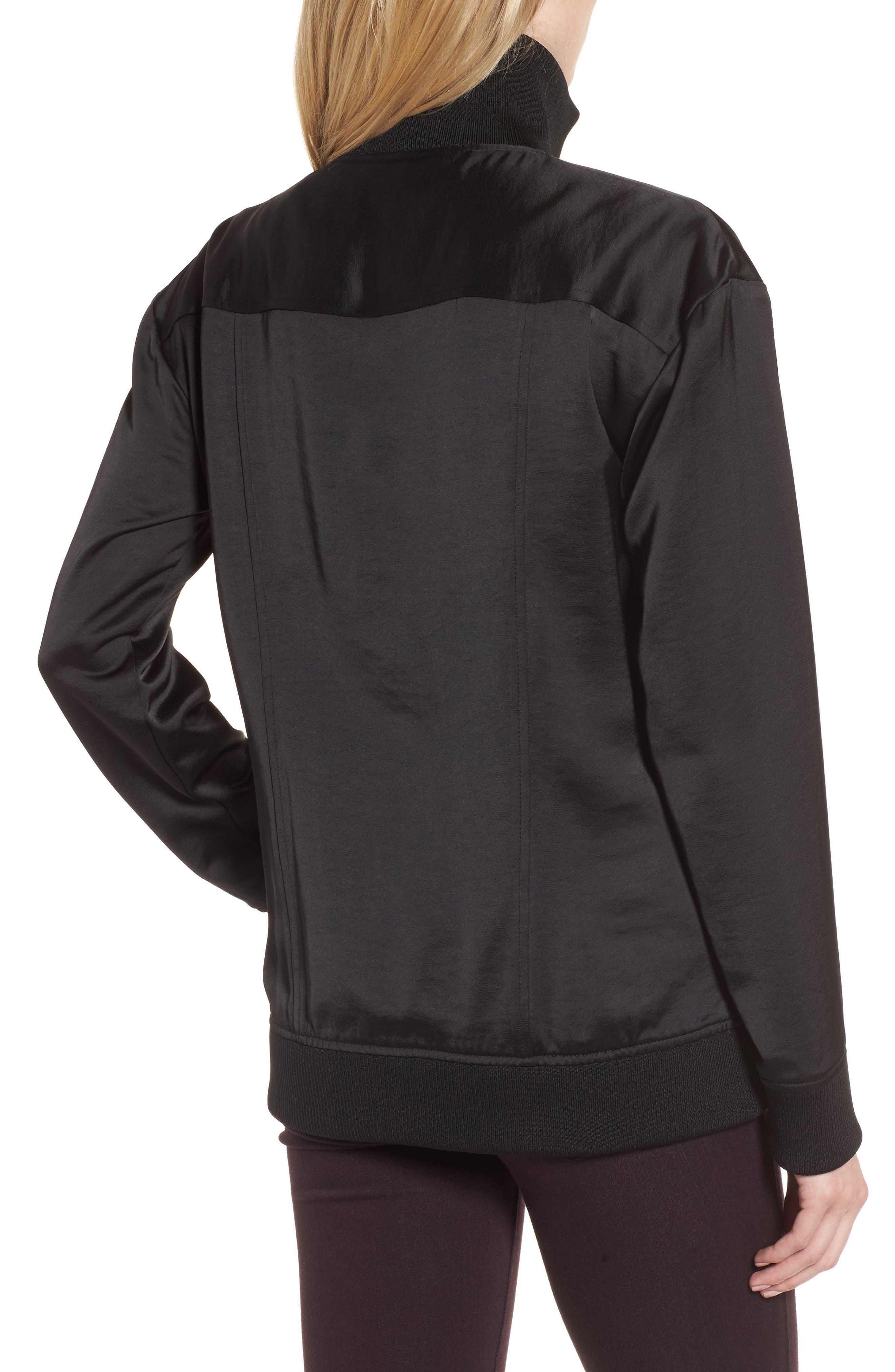 Satin Track Jacket,                             Alternate thumbnail 2, color,                             Black