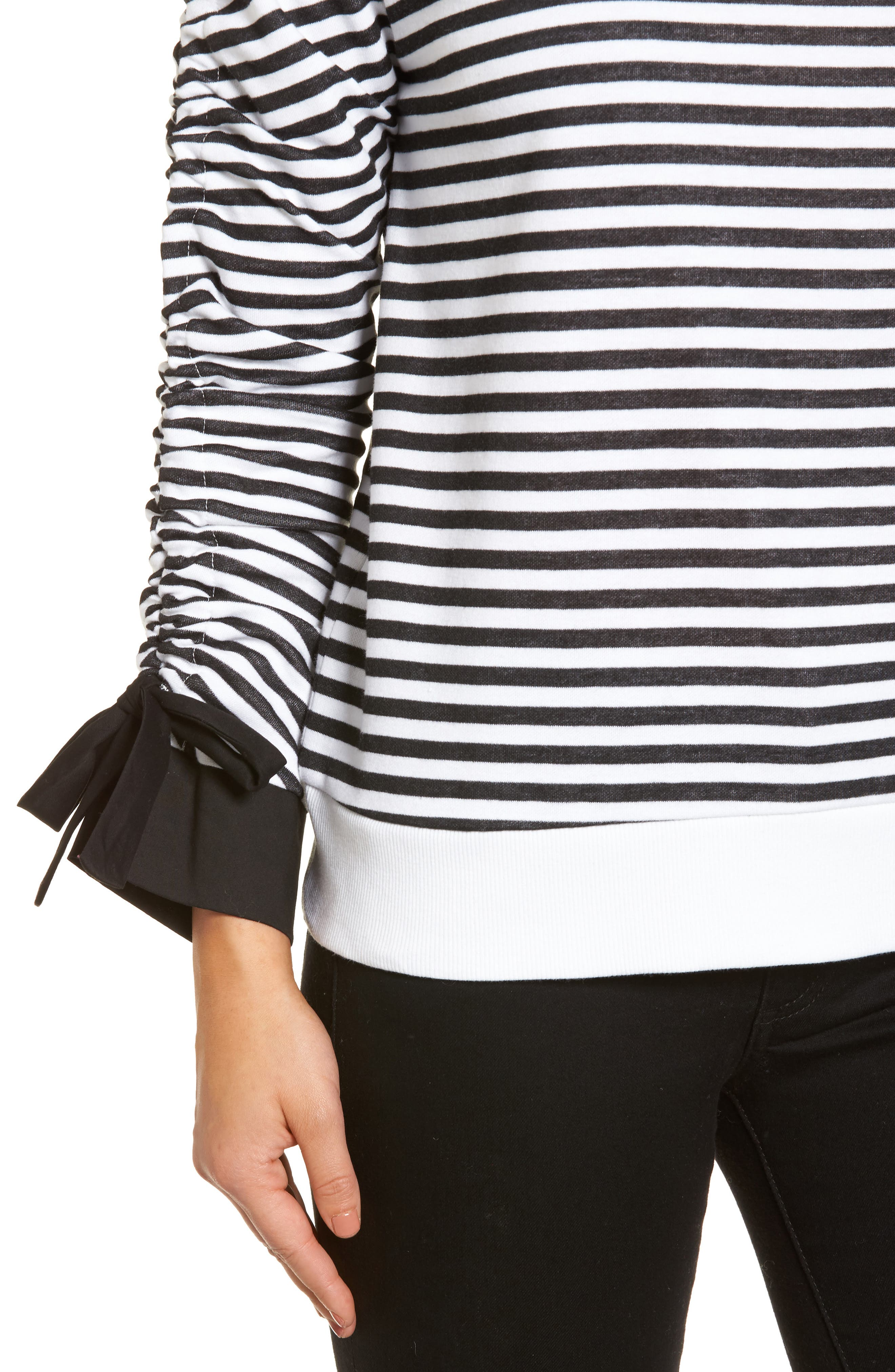 Ruched Sleeve Poplin Trim Sweatshirt,                             Alternate thumbnail 4, color,                             Black- White Stripe