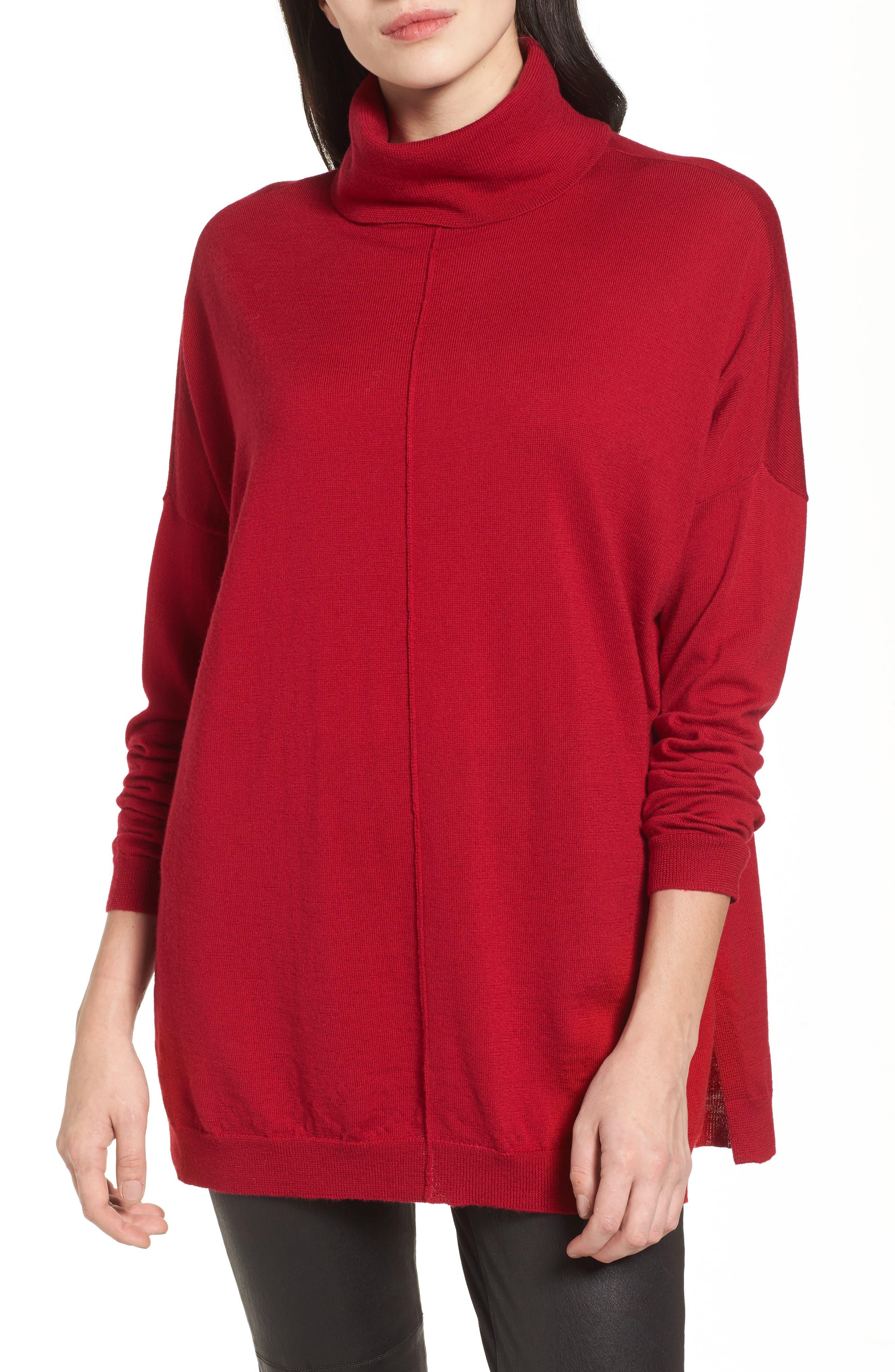 Merino Wool Boxy Turtleneck Sweater,                         Main,                         color, China Red