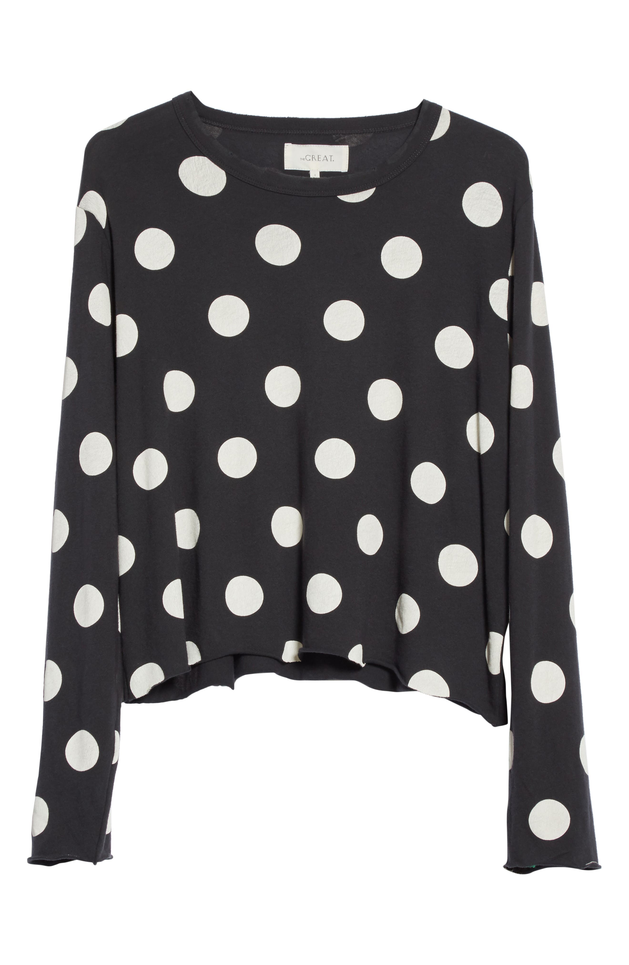 The Long Sleeve Crop Dot Print Tee,                             Alternate thumbnail 7, color,                             Washed Black White Dots