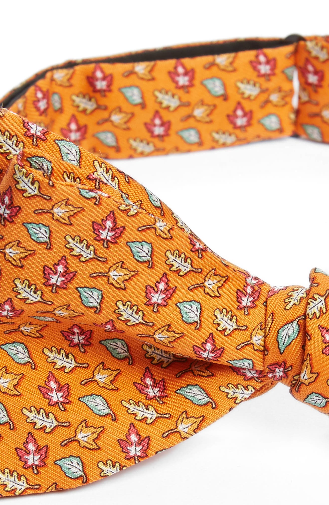 Fall Leaves Silk Bow Tie,                             Alternate thumbnail 3, color,                             Orange