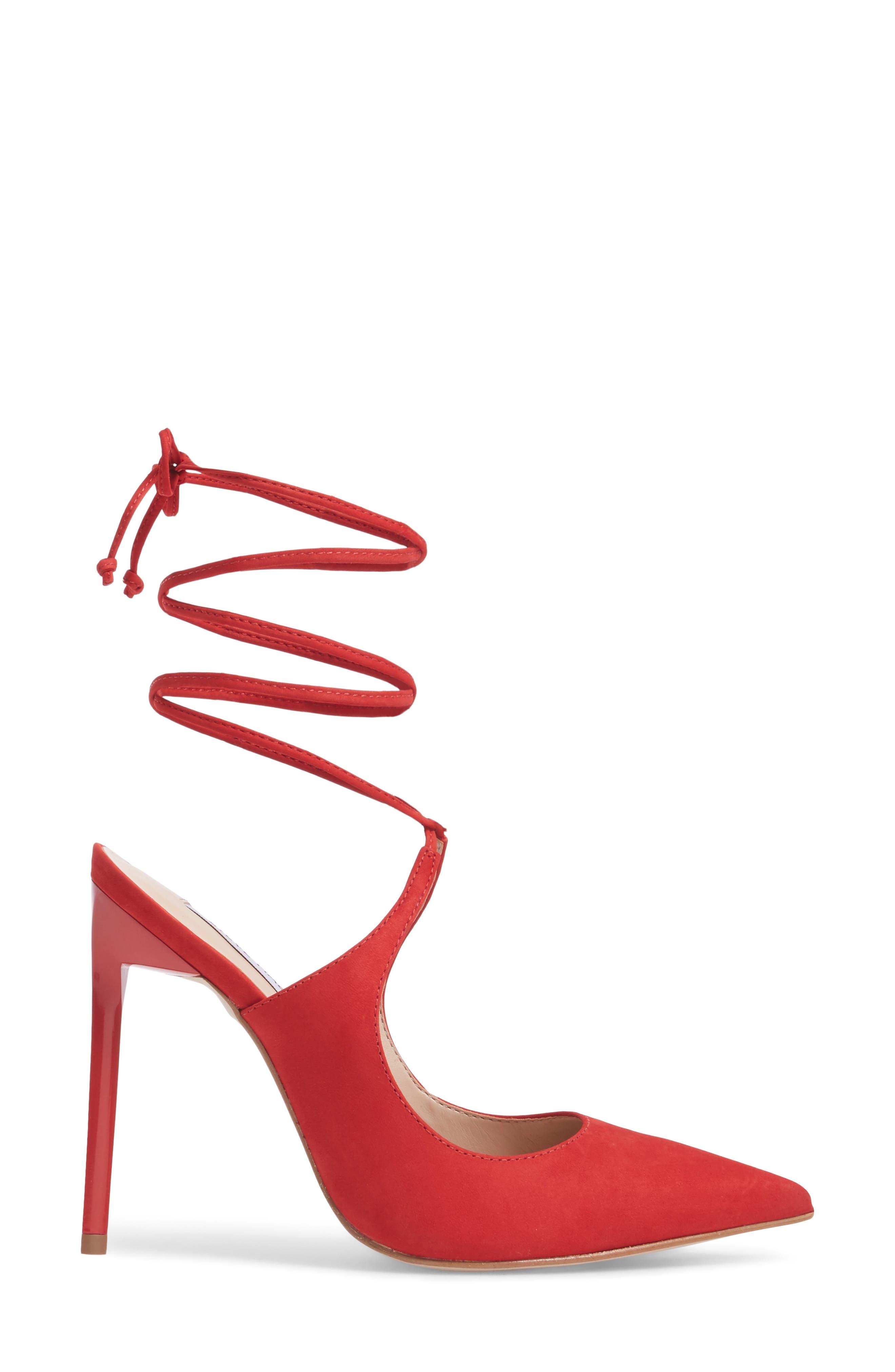 Raven Ankle Wrap Pump,                             Alternate thumbnail 3, color,                             Red Nubuck Leather