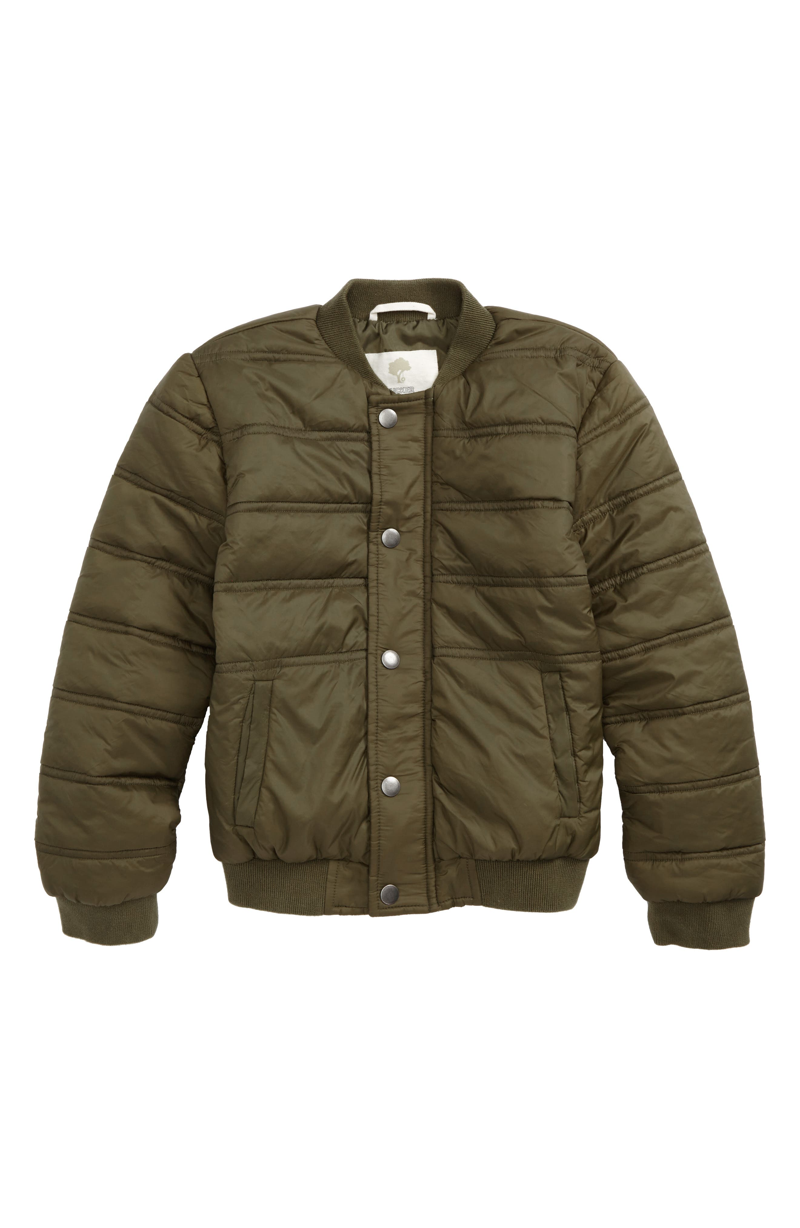 Quilted Nylon Bomber Jacket,                         Main,                         color, Olive