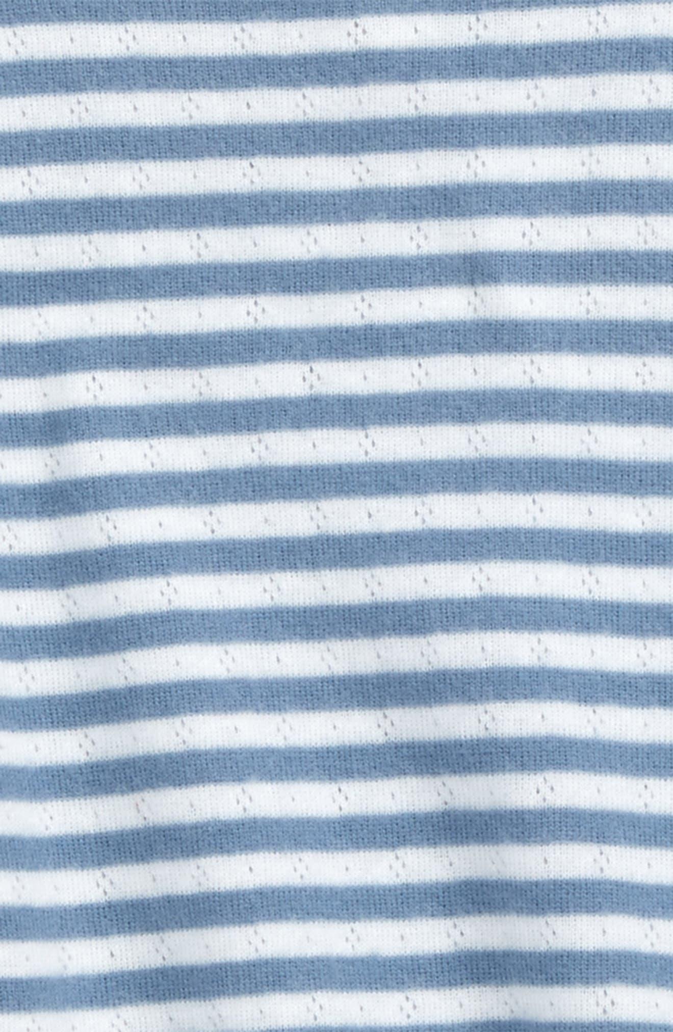 Soft Stripe Pointelle Tee,                             Alternate thumbnail 2, color,                             Ivory Stripe