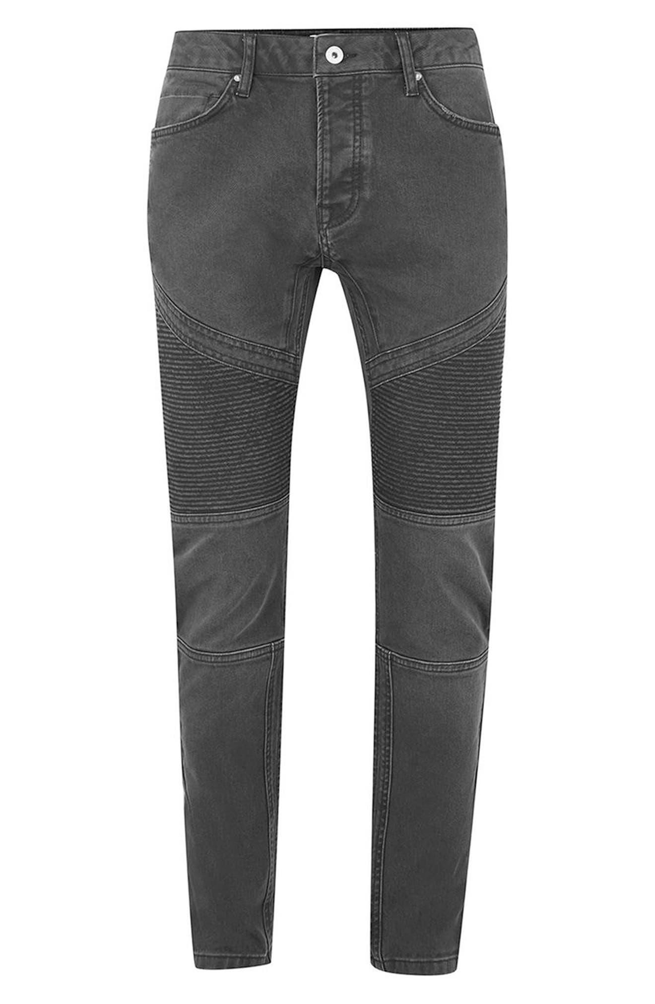 Biker Stretch Skinny Jeans,                             Alternate thumbnail 4, color,                             Dark Grey