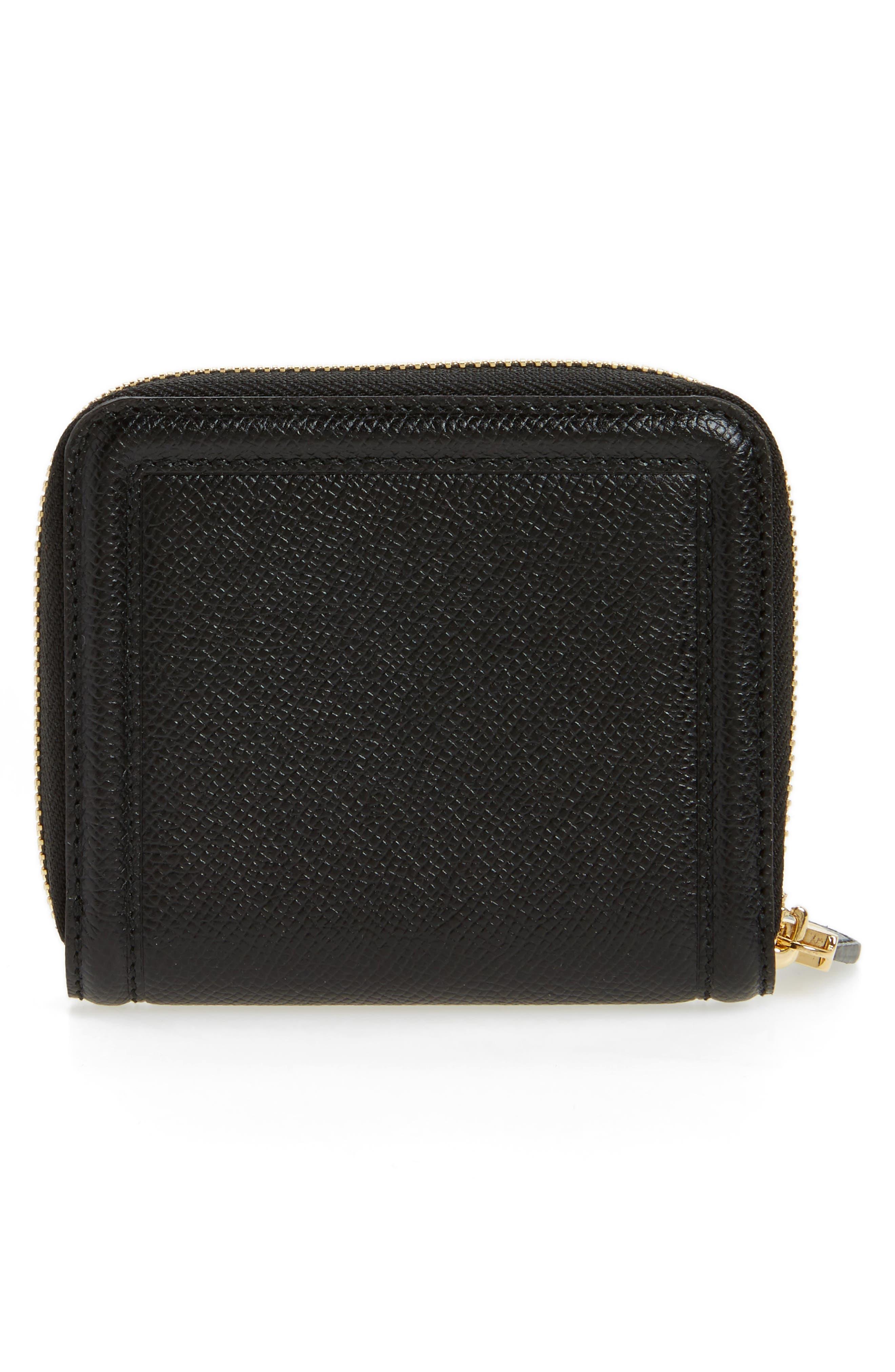 Vara Leather Zip Around French Wallet,                             Alternate thumbnail 4, color,                             Nero