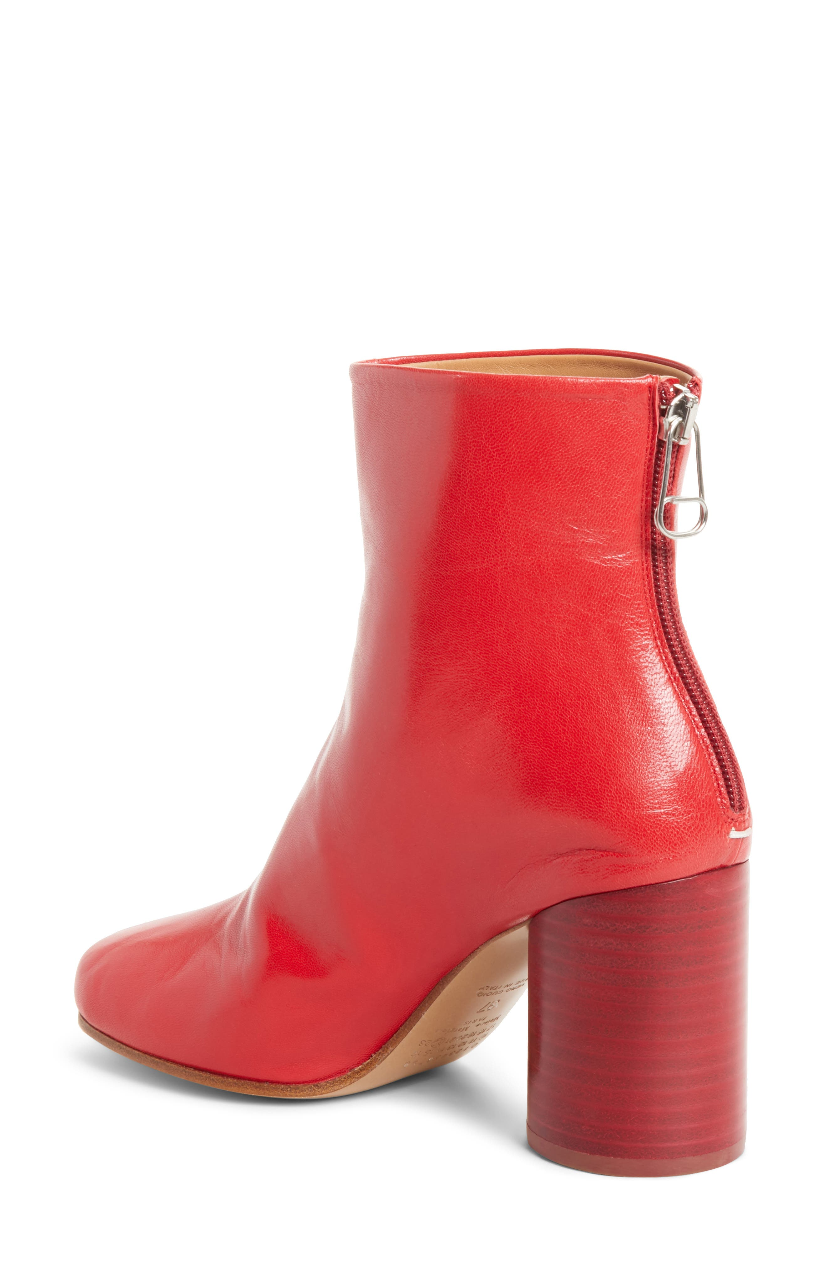 Round Heel Ankle Boot,                             Alternate thumbnail 2, color,                             Red