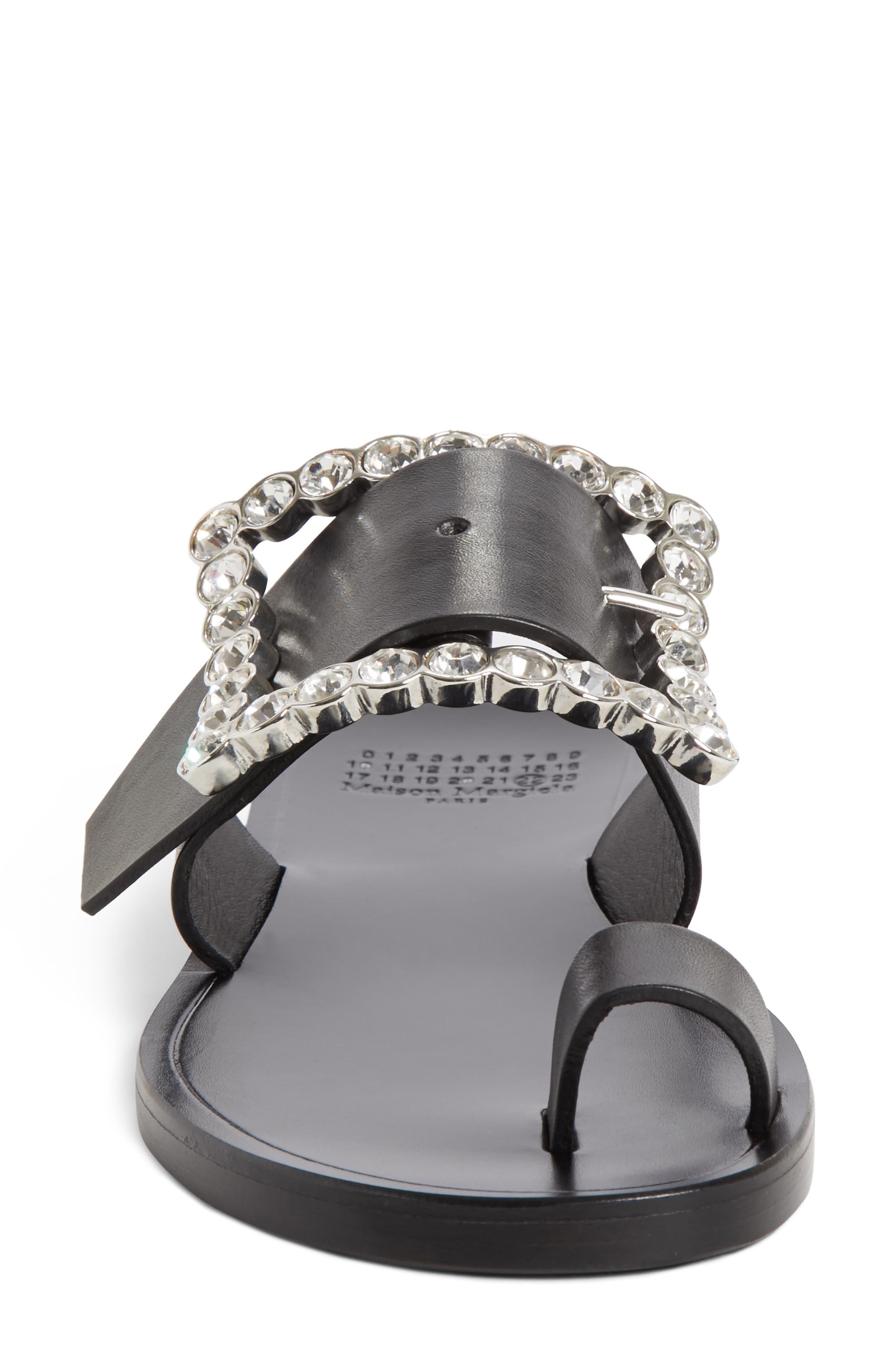 Jeweled Flat Sandal,                             Alternate thumbnail 4, color,                             Black