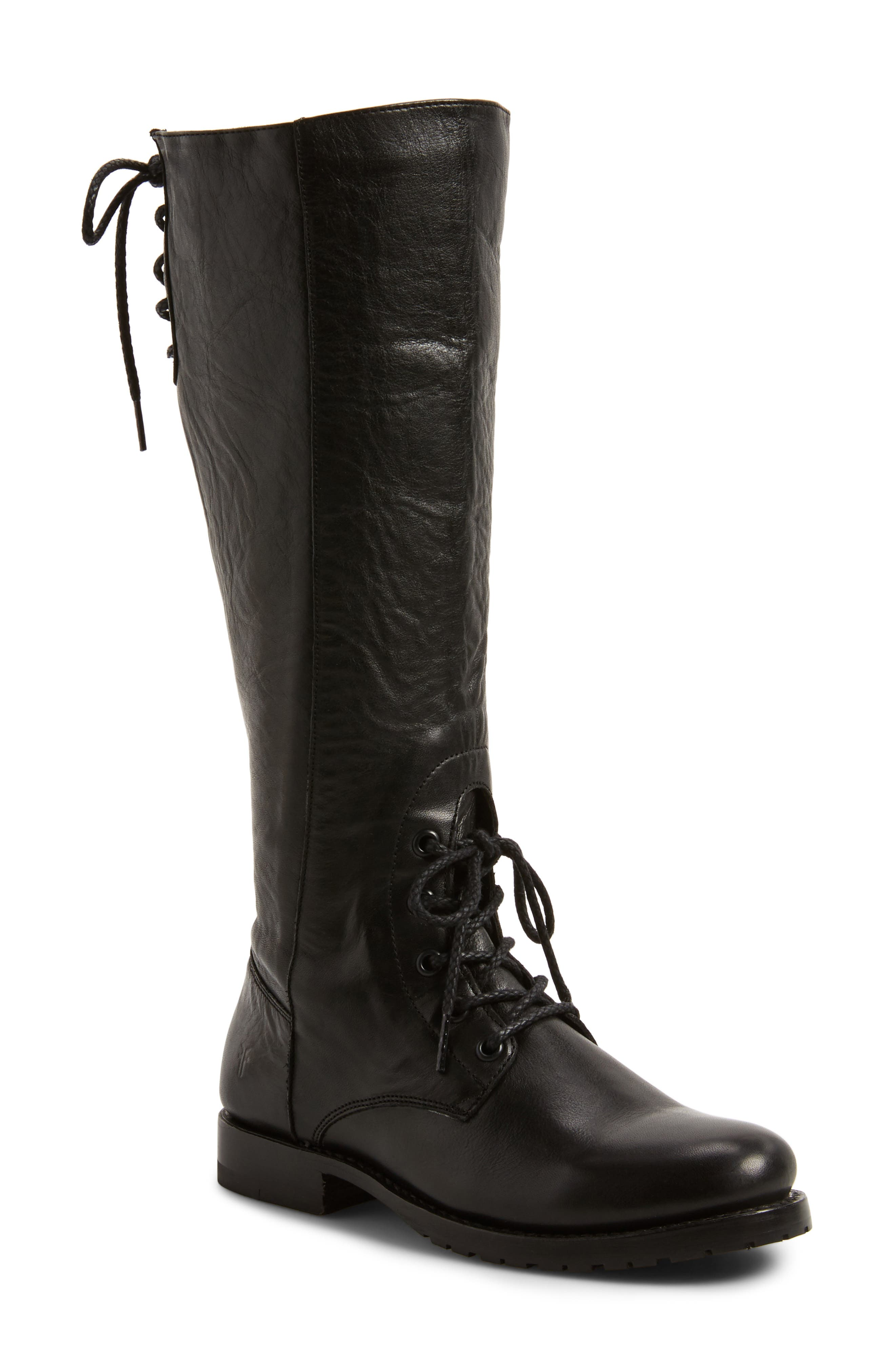 Natalie Knee High Combat Boot,                             Main thumbnail 1, color,                             Black