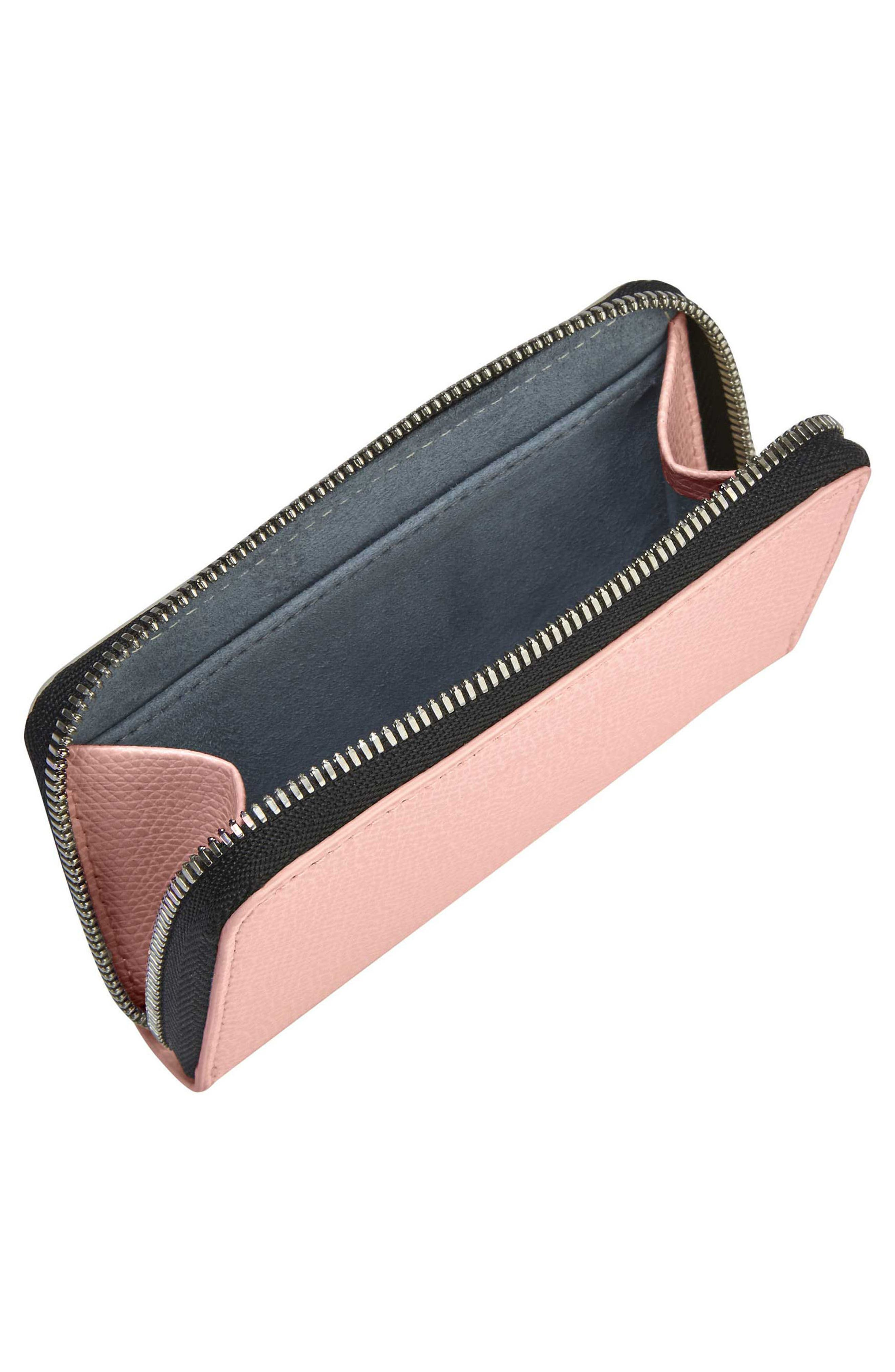 Pebbled Leather Card Wallet,                             Alternate thumbnail 2, color,                             Blush