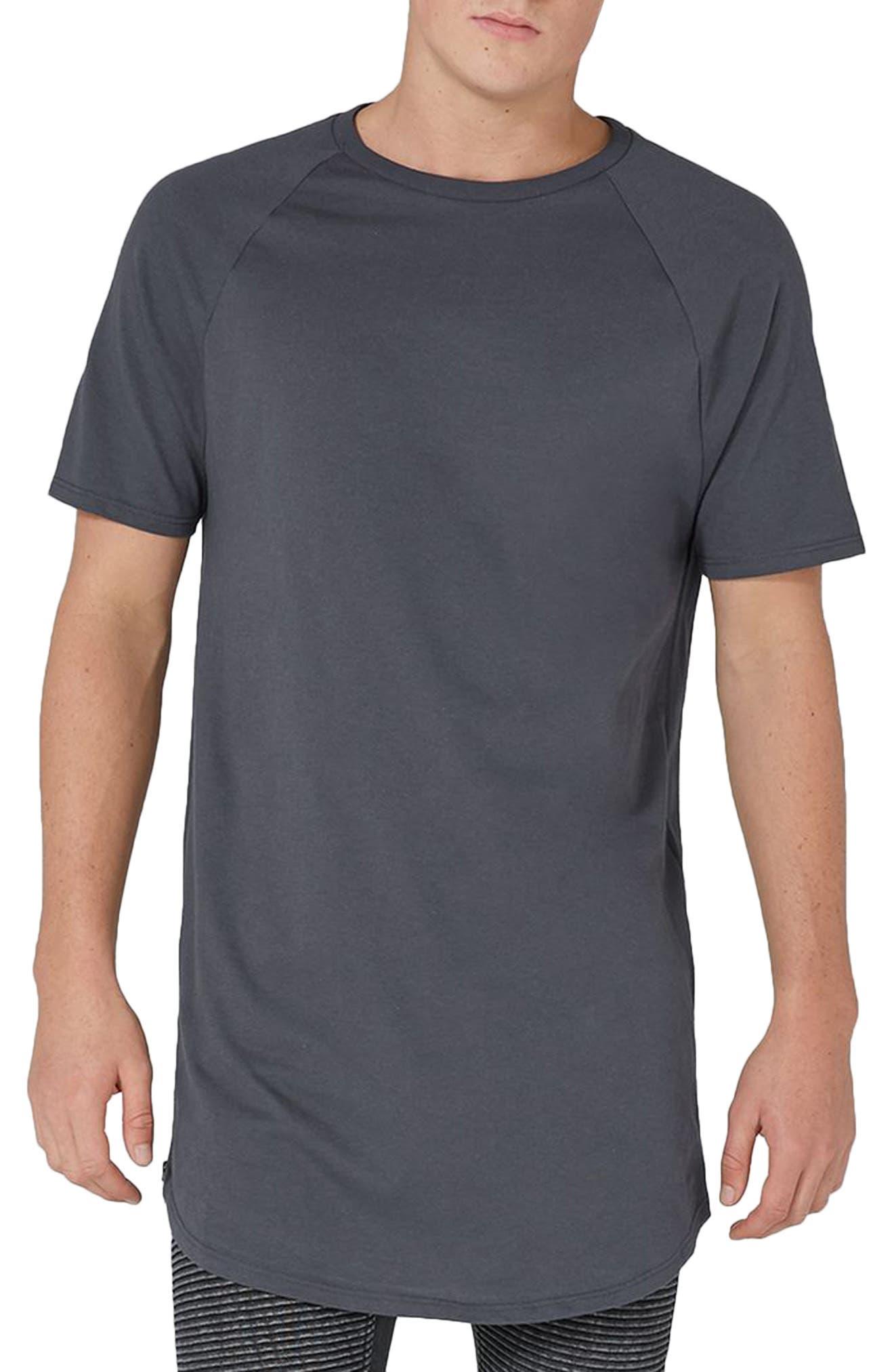 Side Zip Longline T-Shirt,                         Main,                         color, Grey